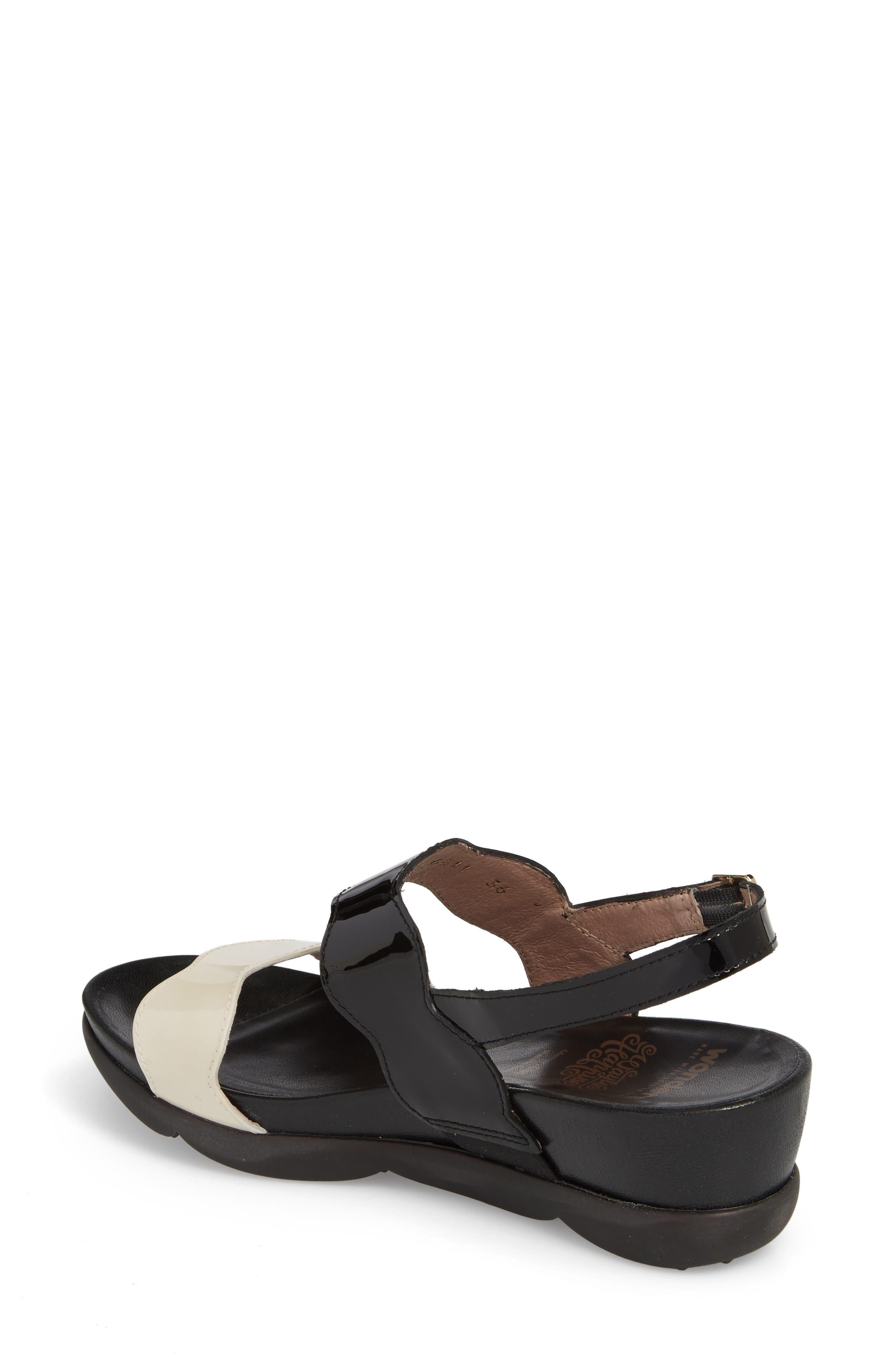Wedge Sandal,                             Alternate thumbnail 2, color,                             Black/ Off Leather