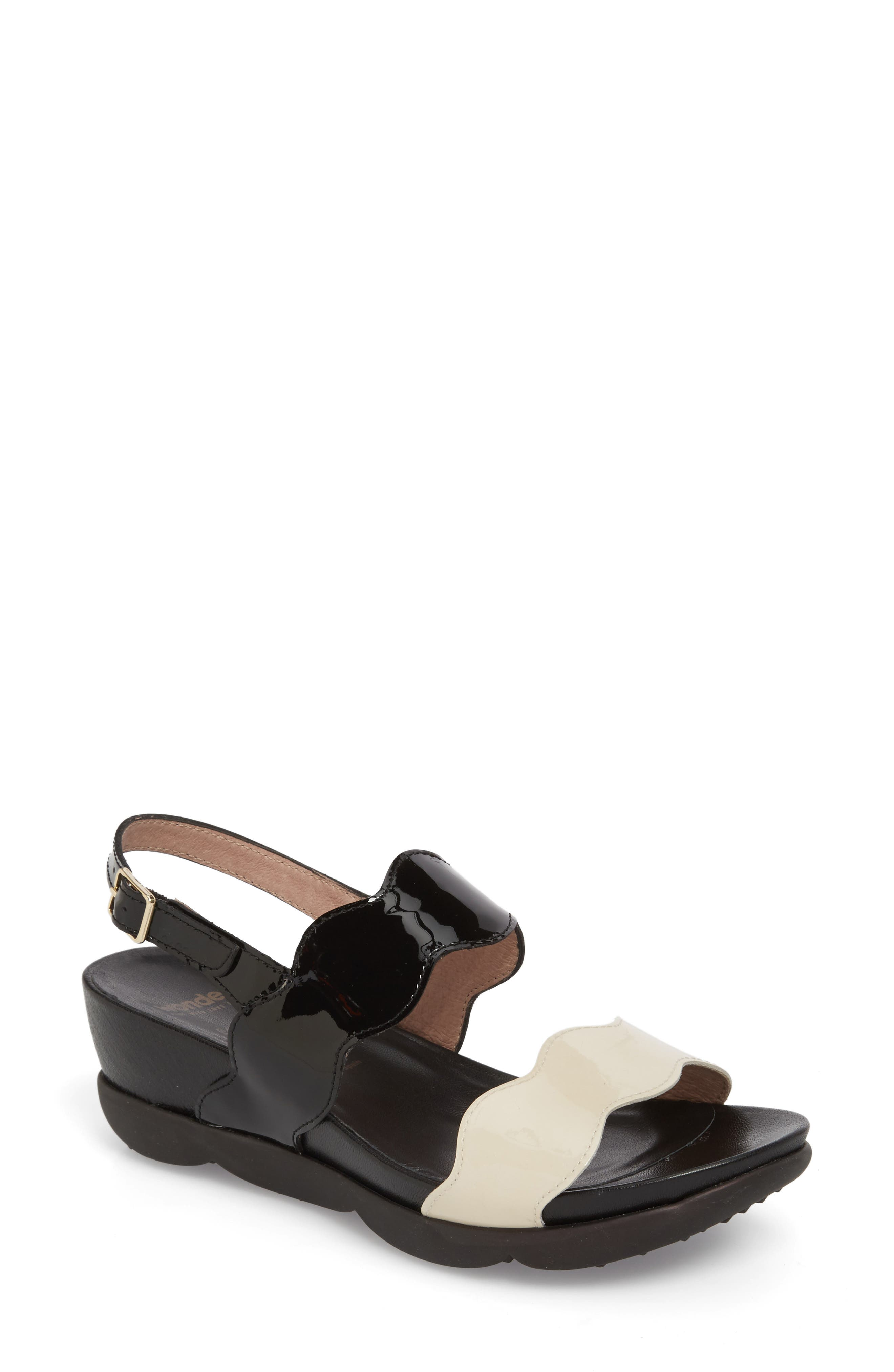 Wedge Sandal,                             Main thumbnail 1, color,                             Black/ Off Leather
