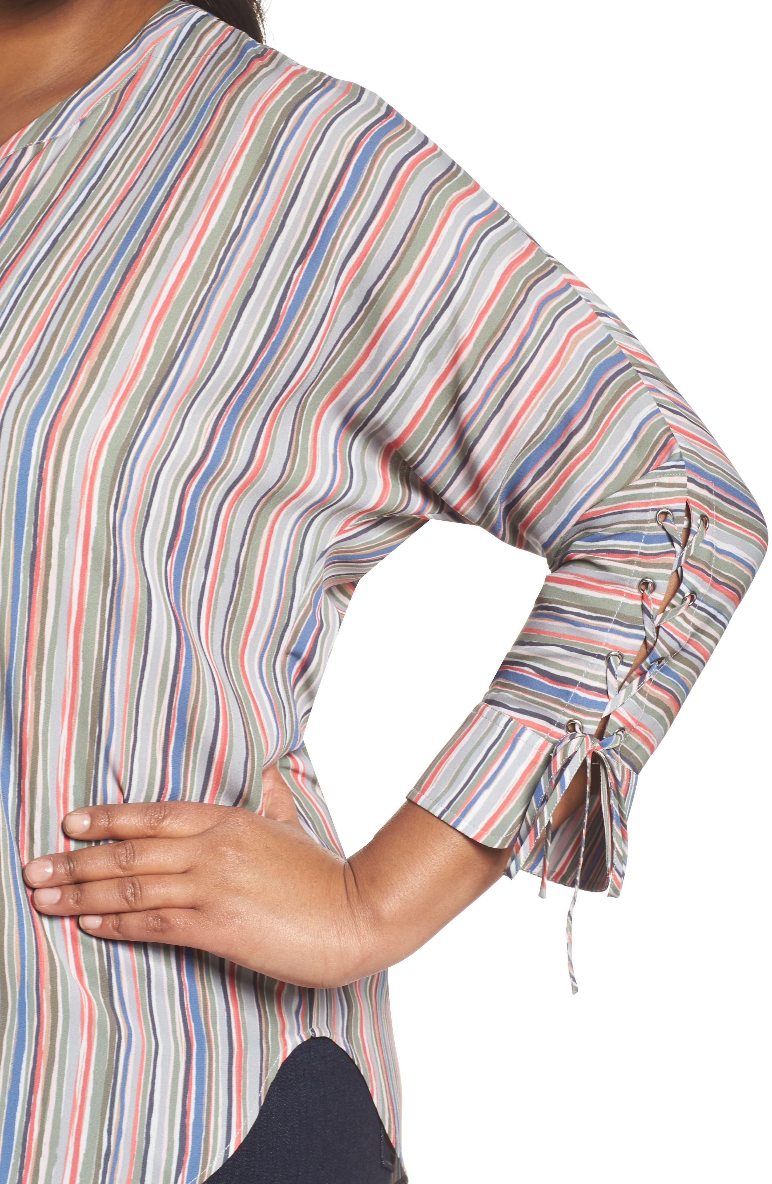 Cabana Tie Sleeve Top,                             Alternate thumbnail 4, color,                             Multi