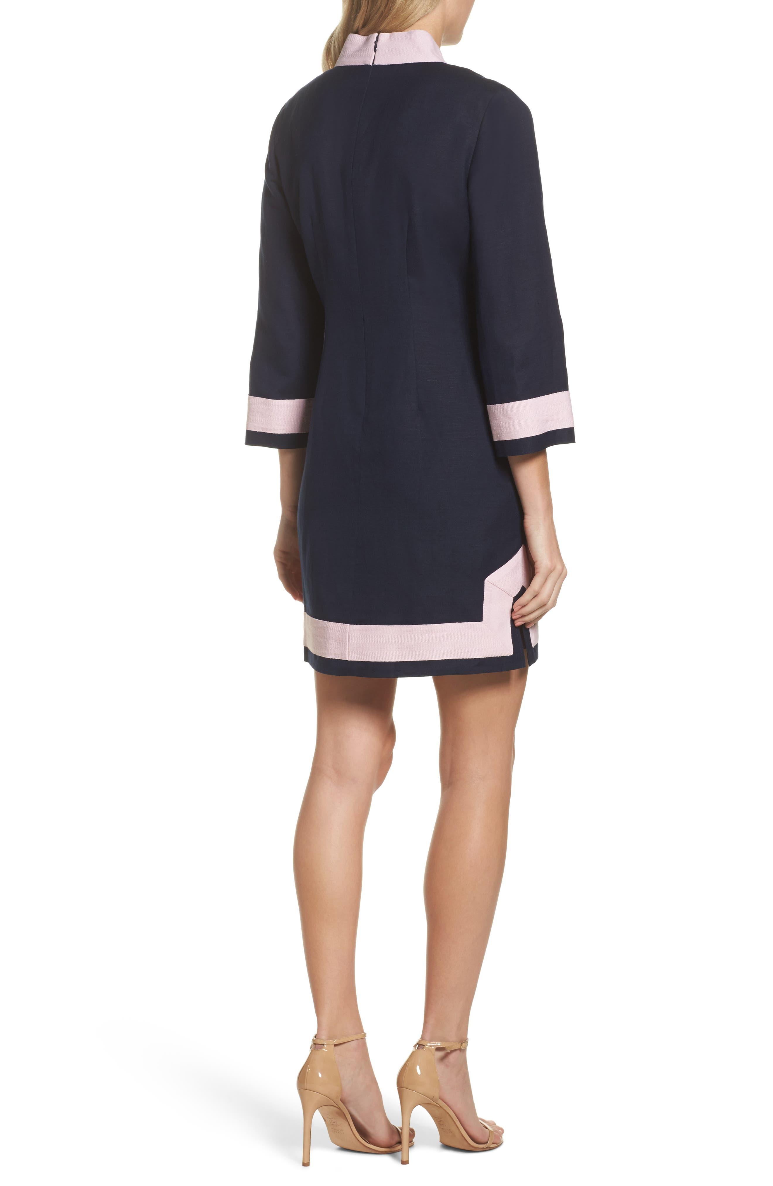 Mandarin Collar Shift Dress,                             Alternate thumbnail 2, color,                             Navy/ Pansy