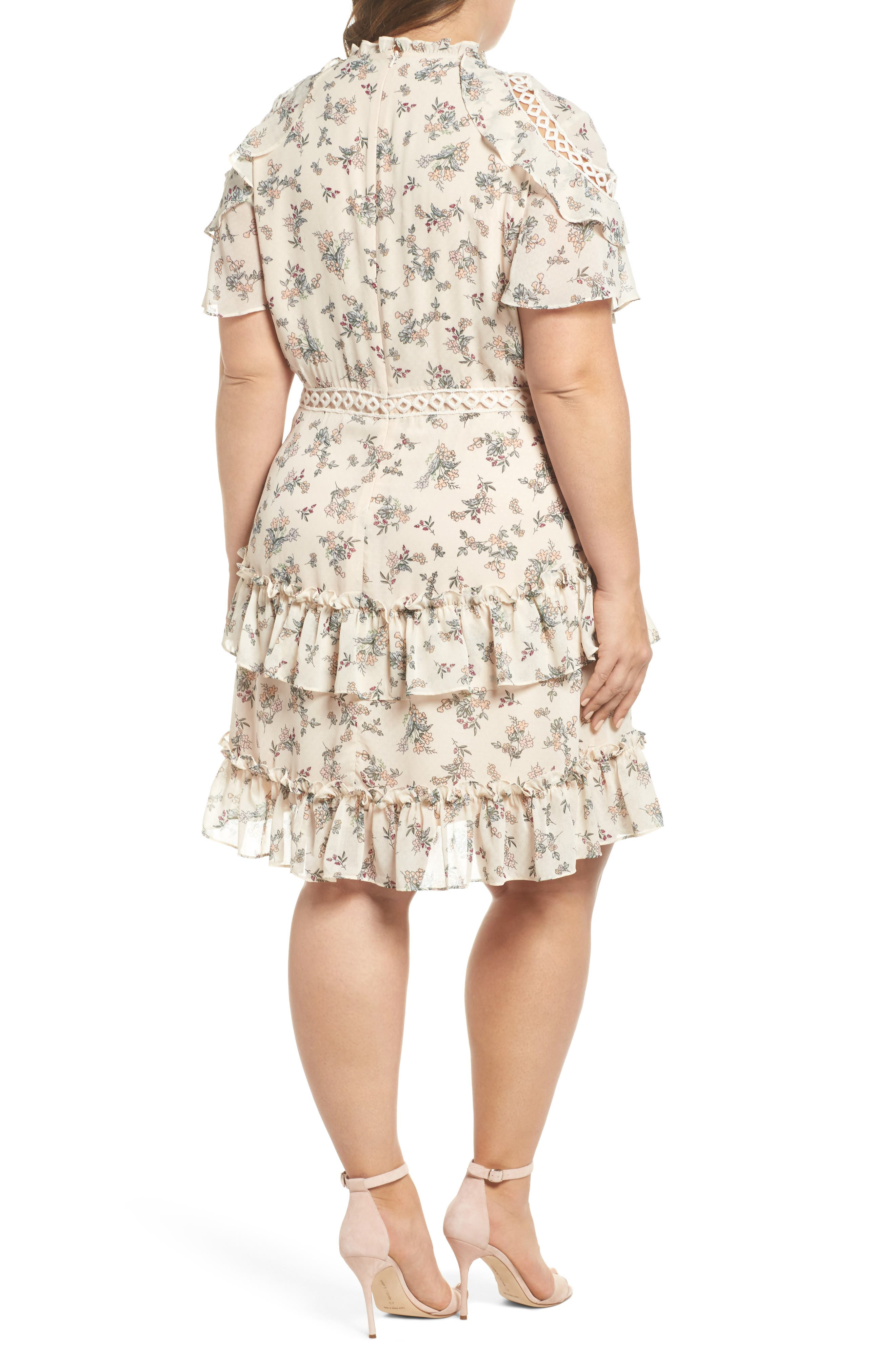 Print Ruffle Dress,                             Alternate thumbnail 3, color,                             Blush Floral Bunch