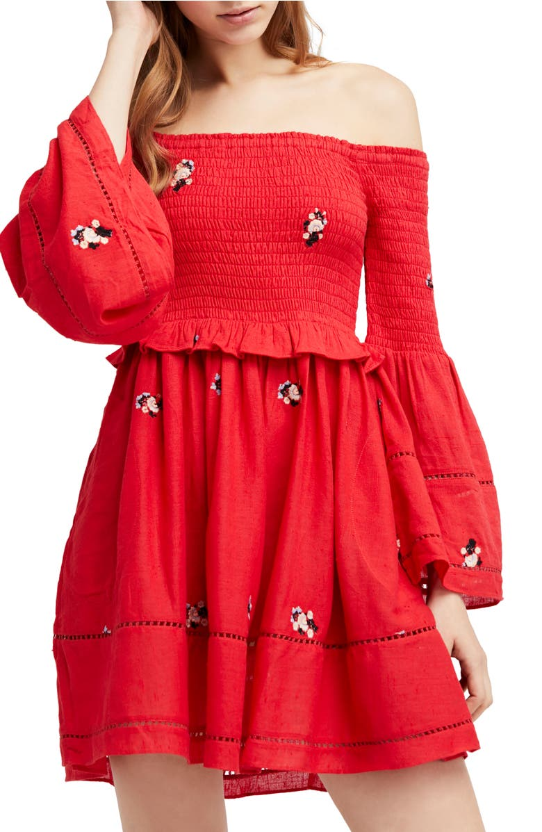 Counting Daisies Embroidered Off the Shoulder Dress, Main, color, Red Combo