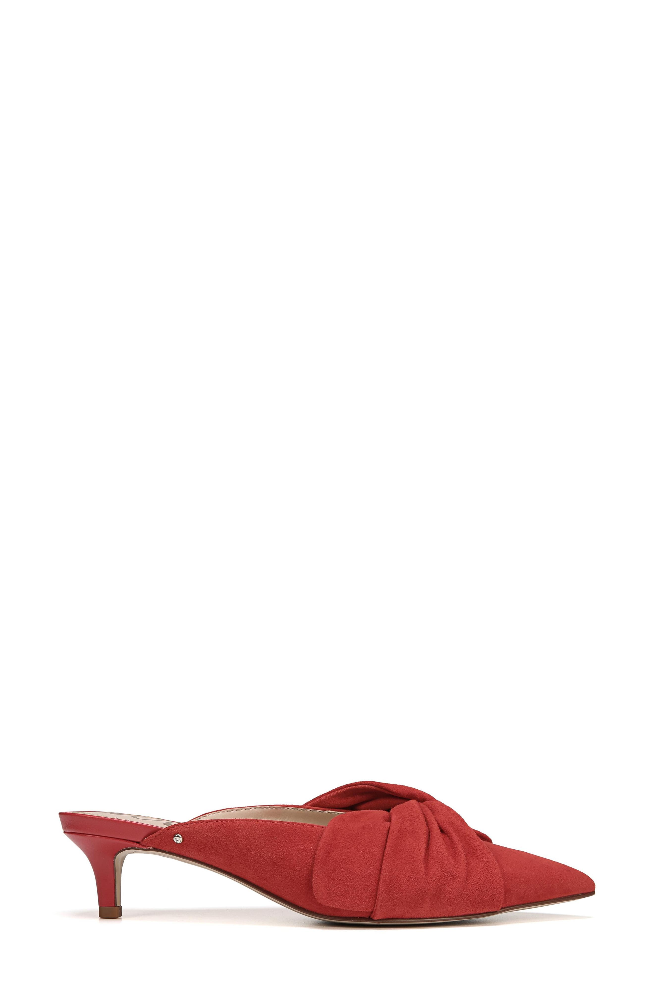 Laney Pointy Toe Mule,                             Alternate thumbnail 3, color,                             Candy Red Suede