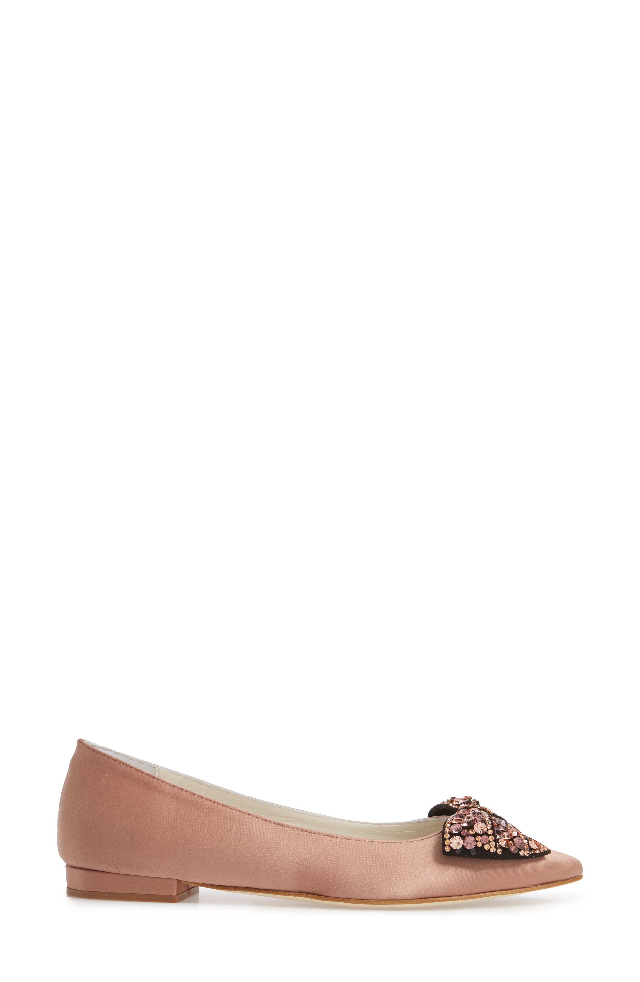 Milva Embellished Bow Pointy Toe Flat,                             Alternate thumbnail 3, color,                             Blush Satin
