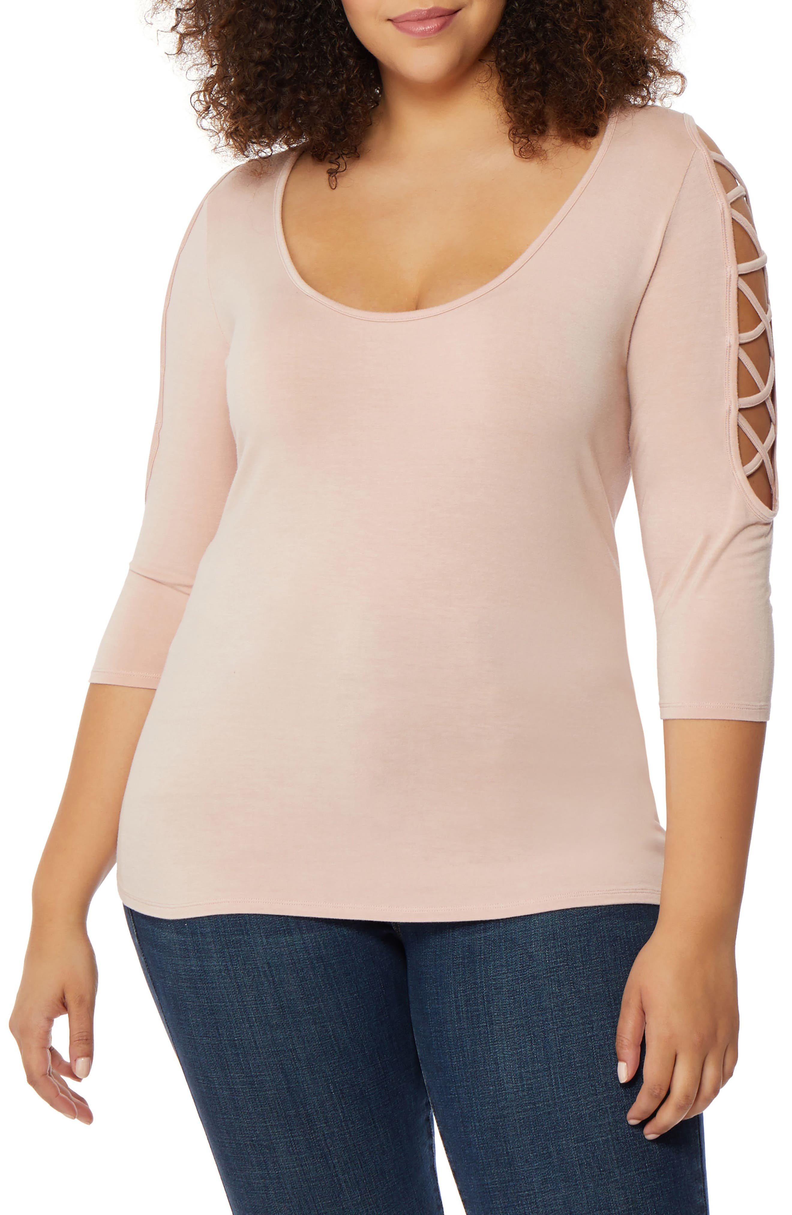 Laced Shoulder Top,                         Main,                         color, Evening Sand