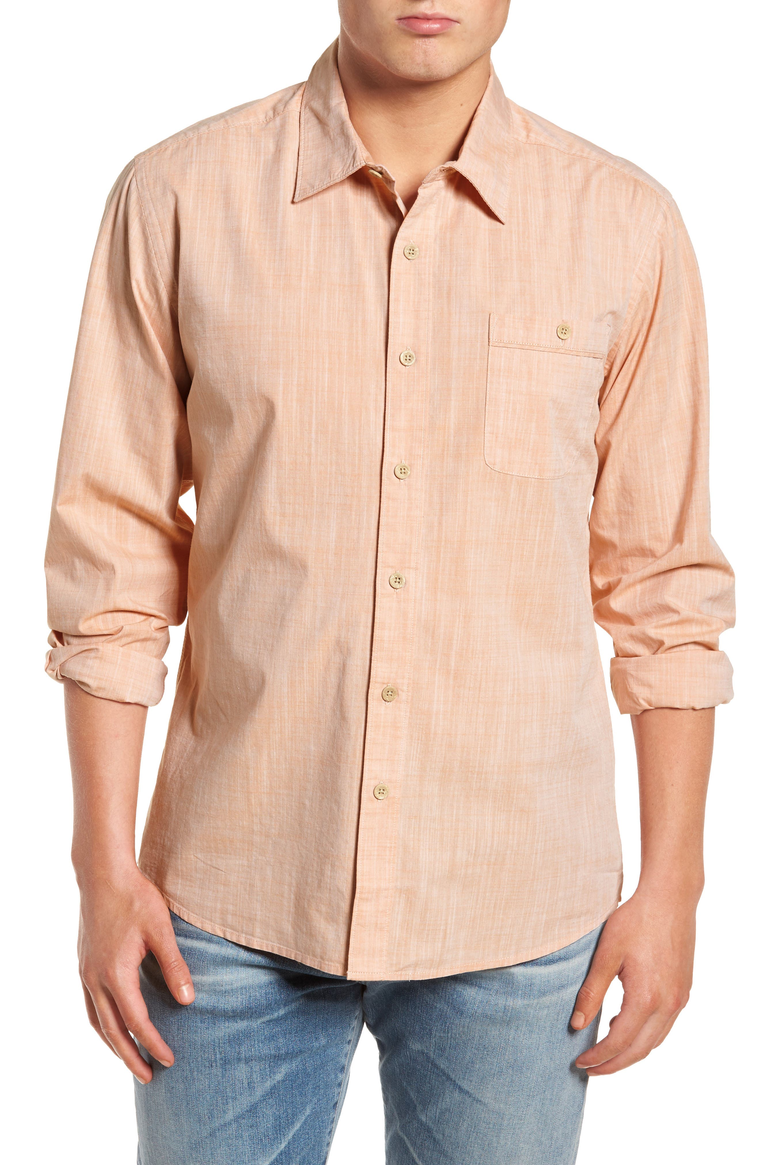 Mai Tai Regular Fit Sport Shirt,                             Main thumbnail 1, color,                             Papaya