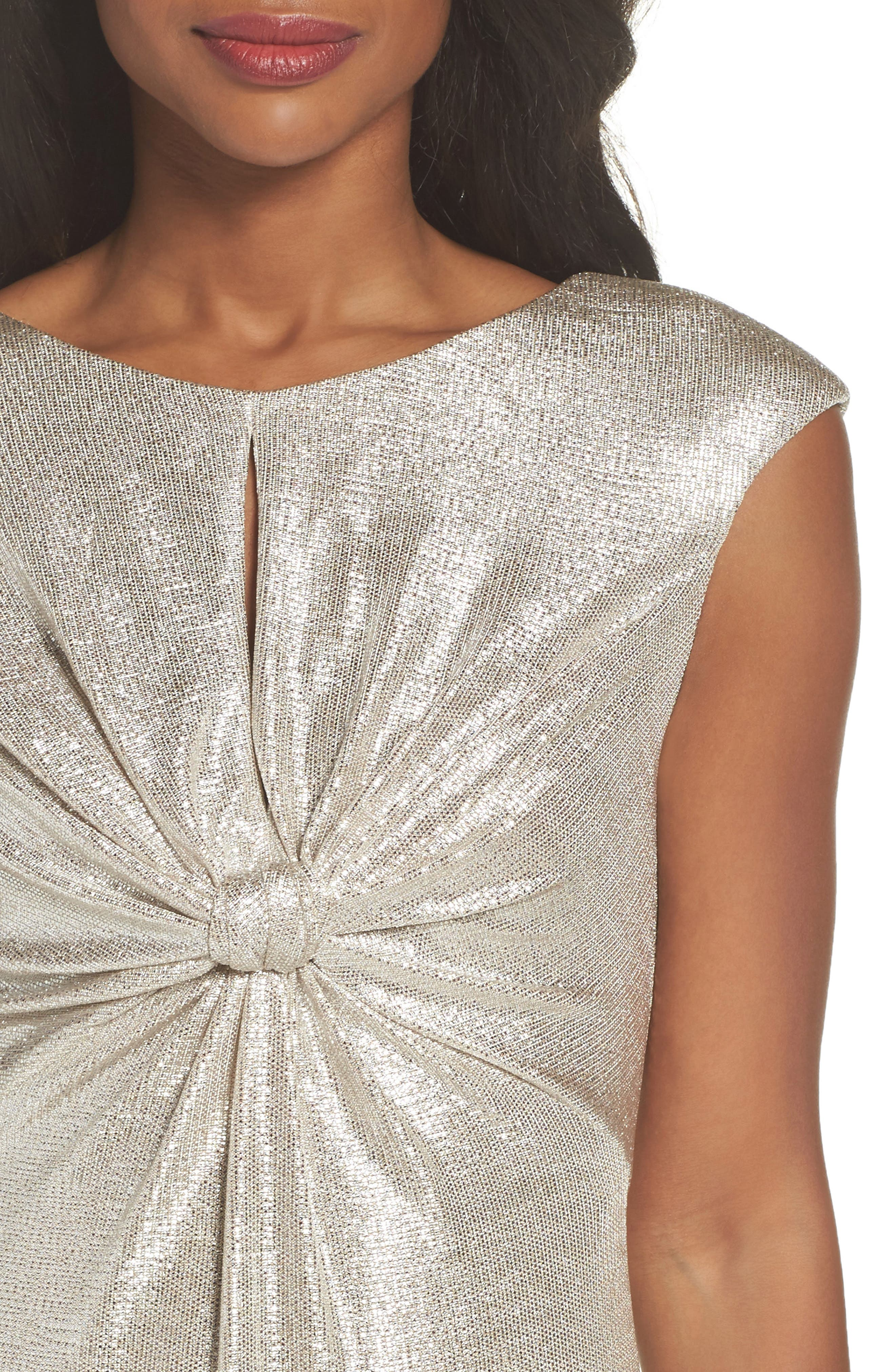 Twist Front Gown,                             Alternate thumbnail 4, color,                             Silver