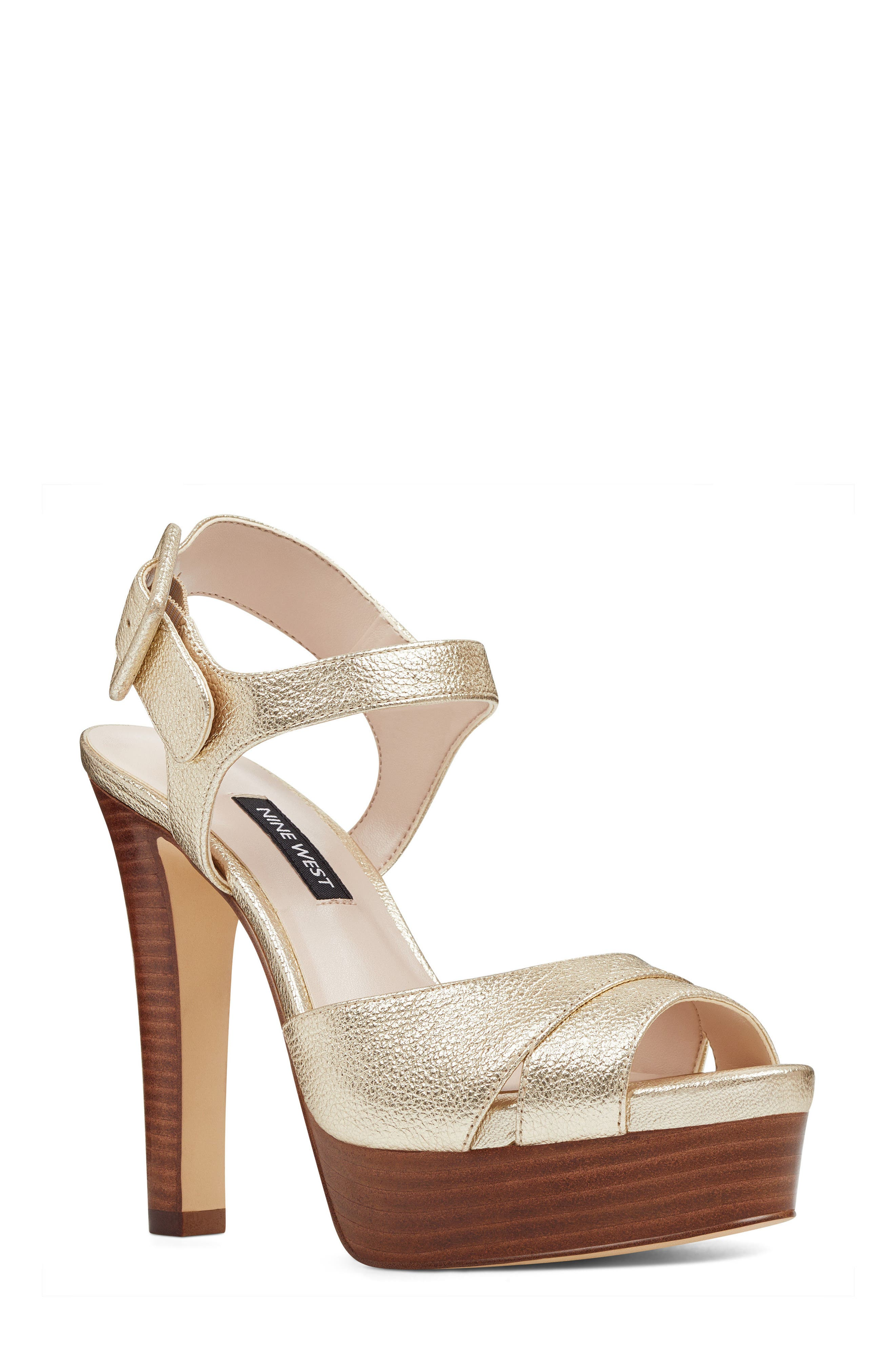 Ibyn Platform Sandal,                         Main,                         color, Light Gold Leather