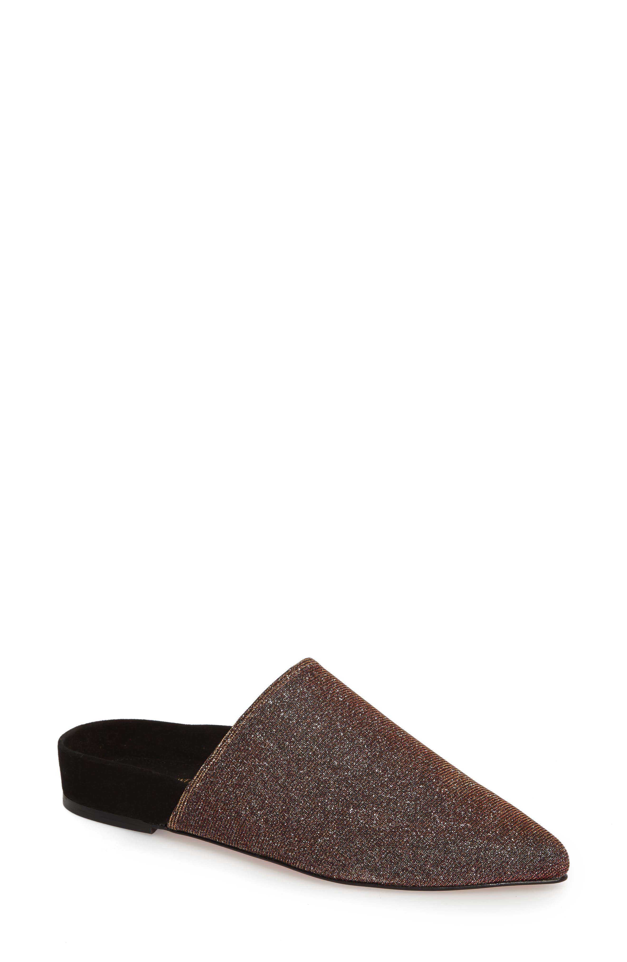 Stuart Weitzman Studio Pointy Toe Flat Mule (Women)