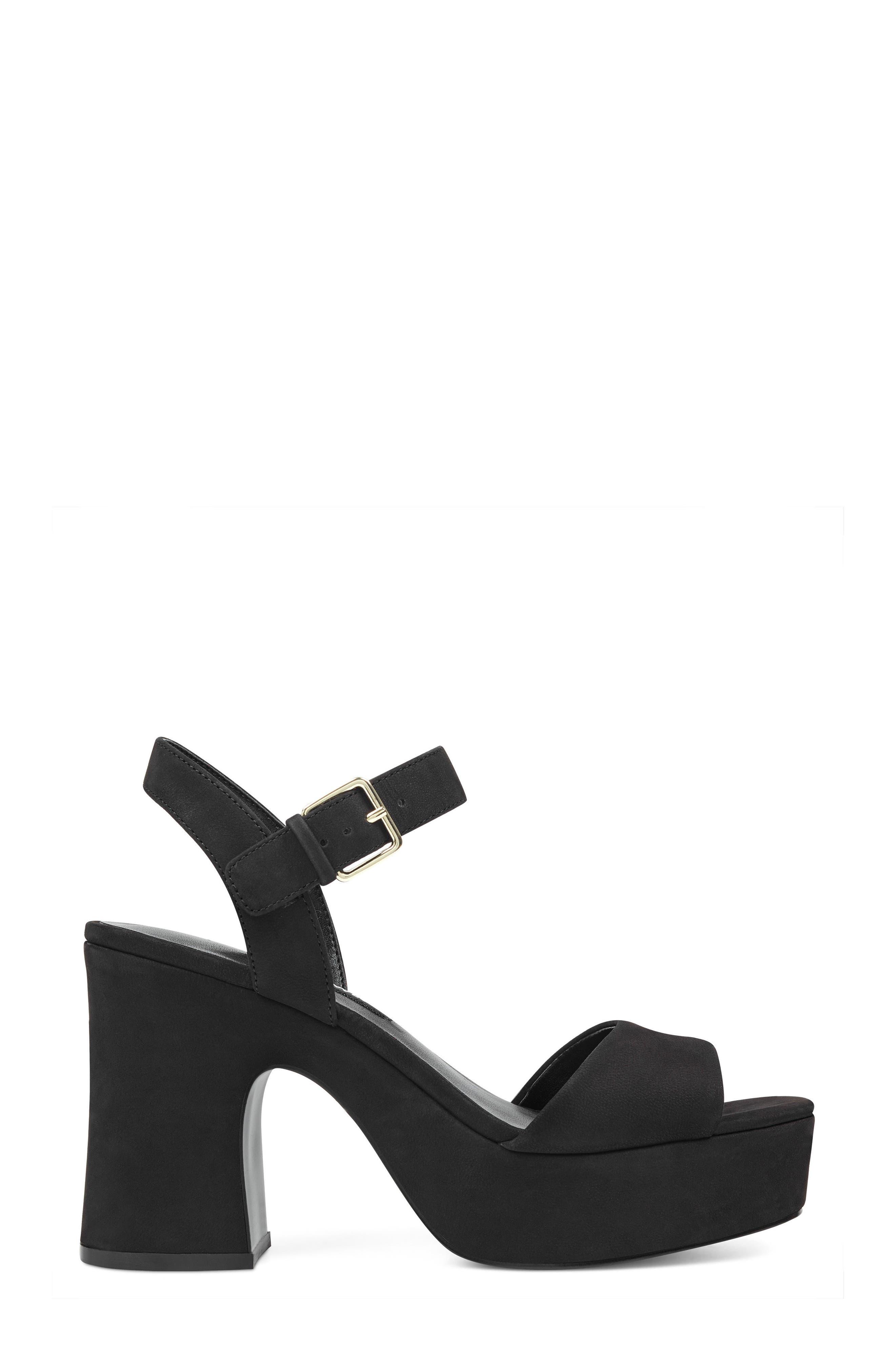 FallForU Platform Sandal,                             Alternate thumbnail 3, color,                             Black Leather