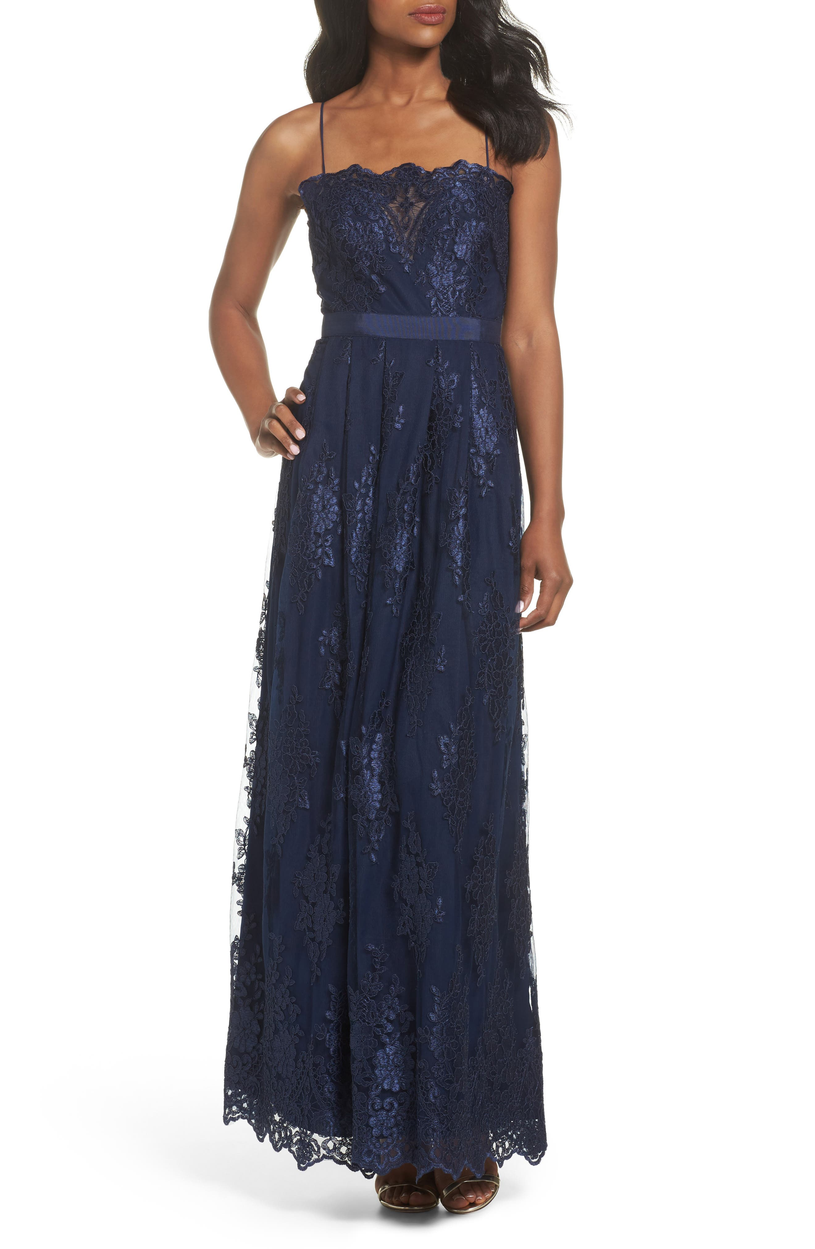 Lace Gown,                             Main thumbnail 1, color,                             Navy
