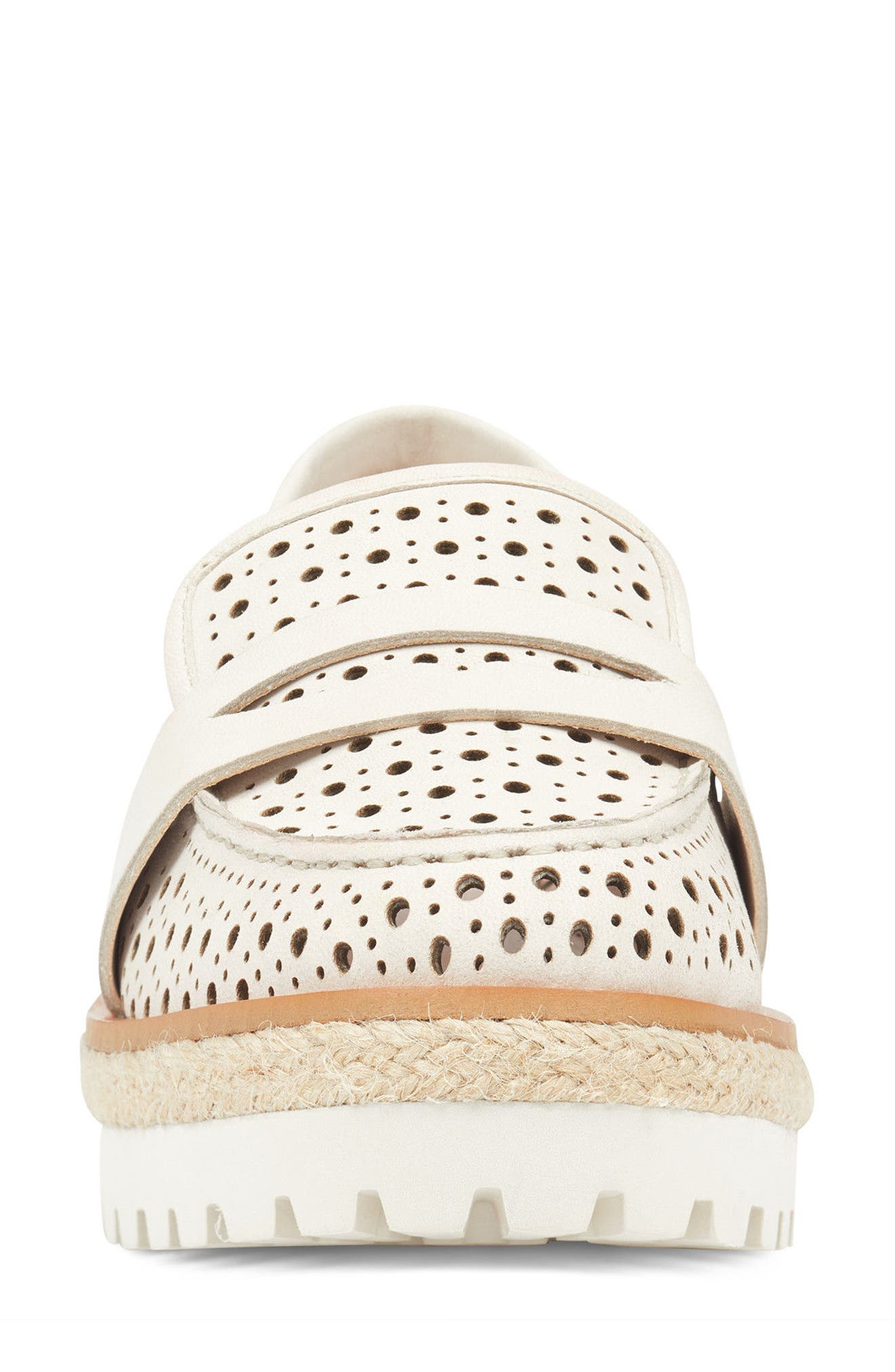 Gradskool Perforated Penny Loafer,                             Alternate thumbnail 4, color,                             Off White Leather