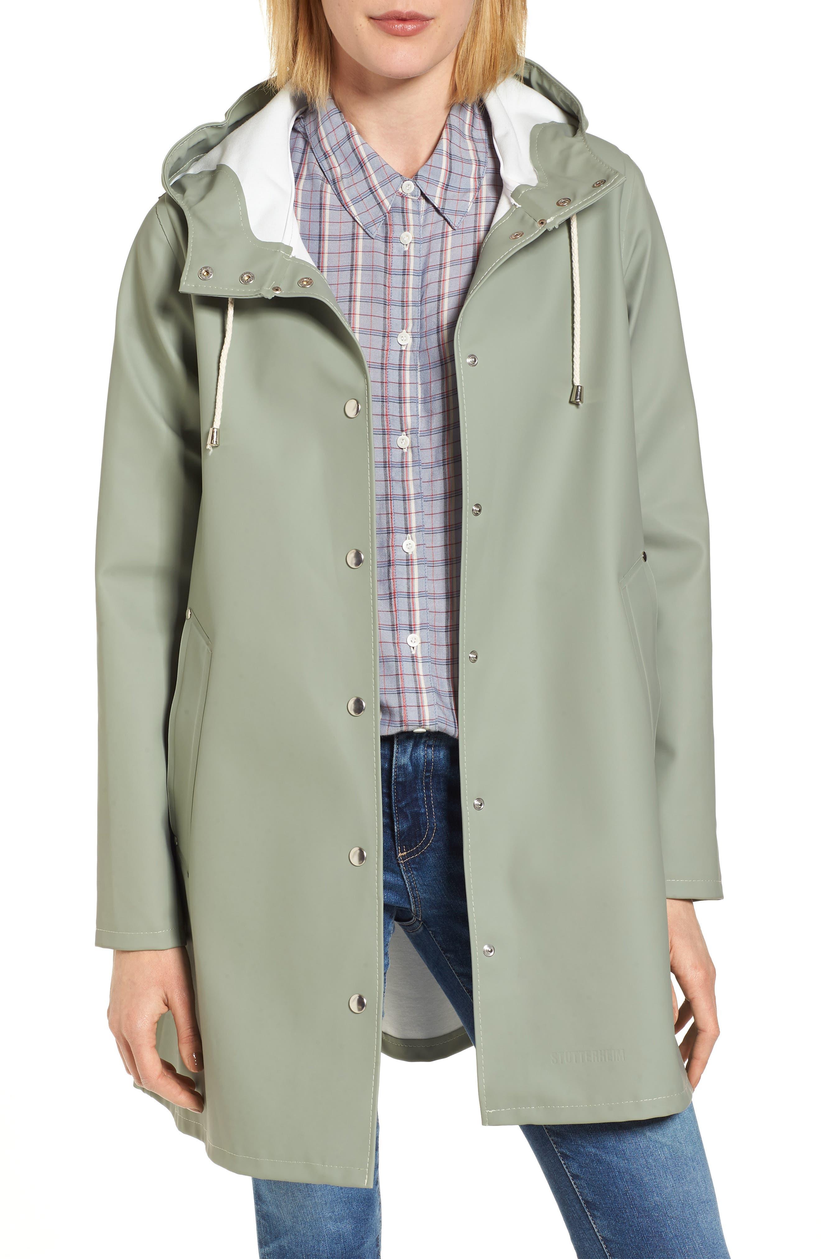 Mosebacke Waterproof A-Line Hooded Raincoat,                             Main thumbnail 1, color,                             Khaki Green