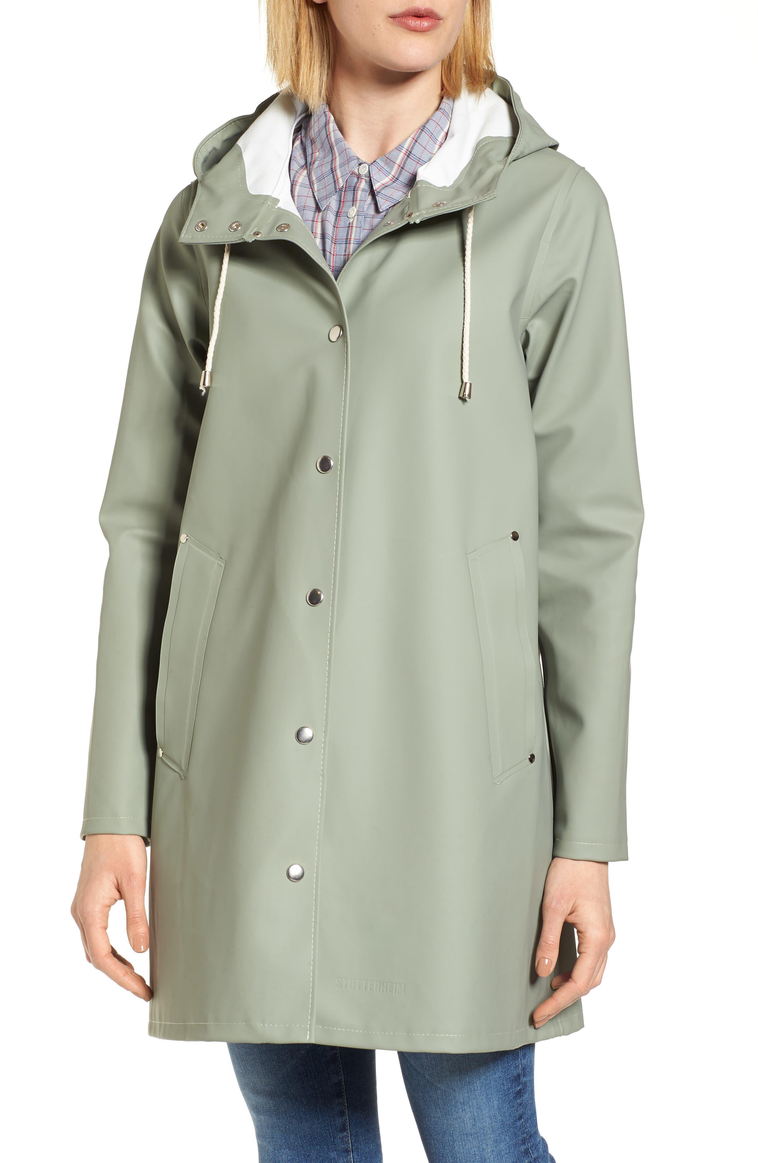 Mosebacke Waterproof A-Line Hooded Raincoat,                             Alternate thumbnail 4, color,                             Khaki Green