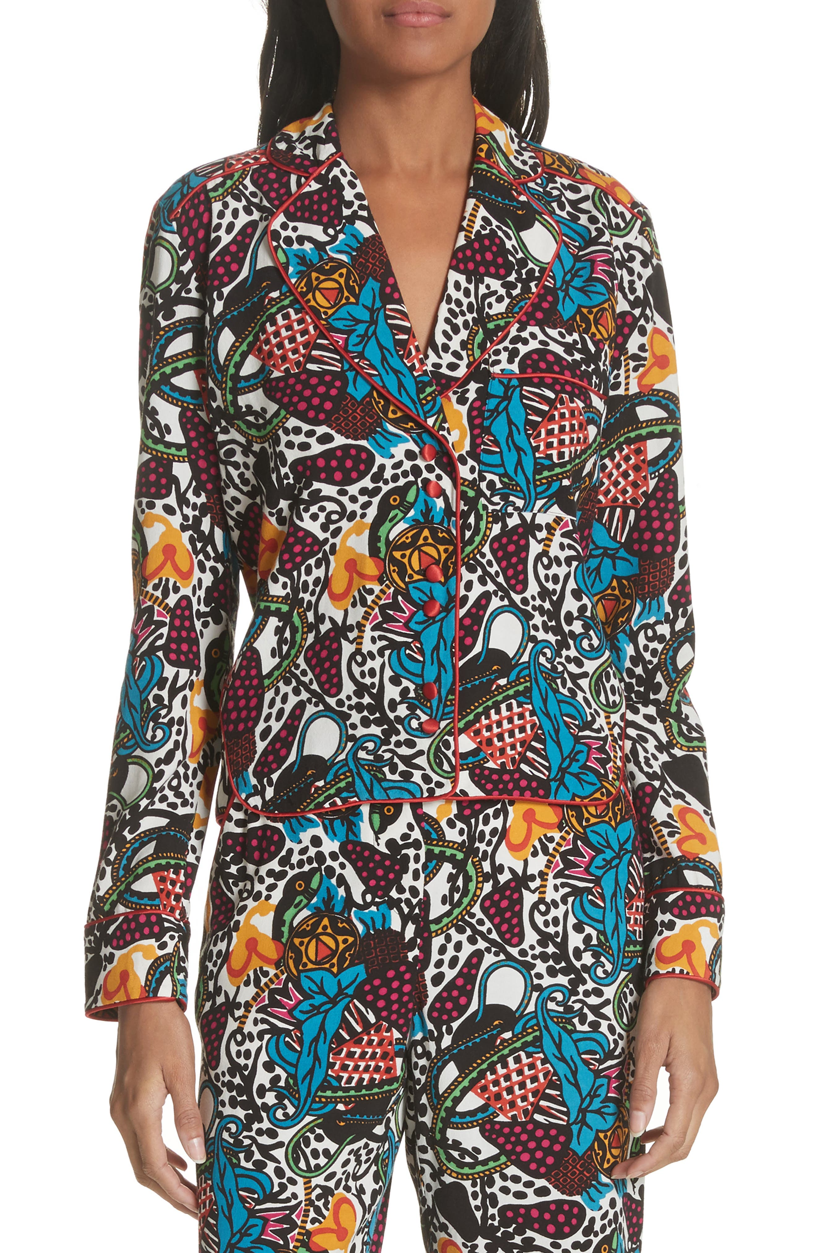 Penelope Pajama Shirt,                             Main thumbnail 1, color,                             Off White/ Blue/ Green/ Yellow