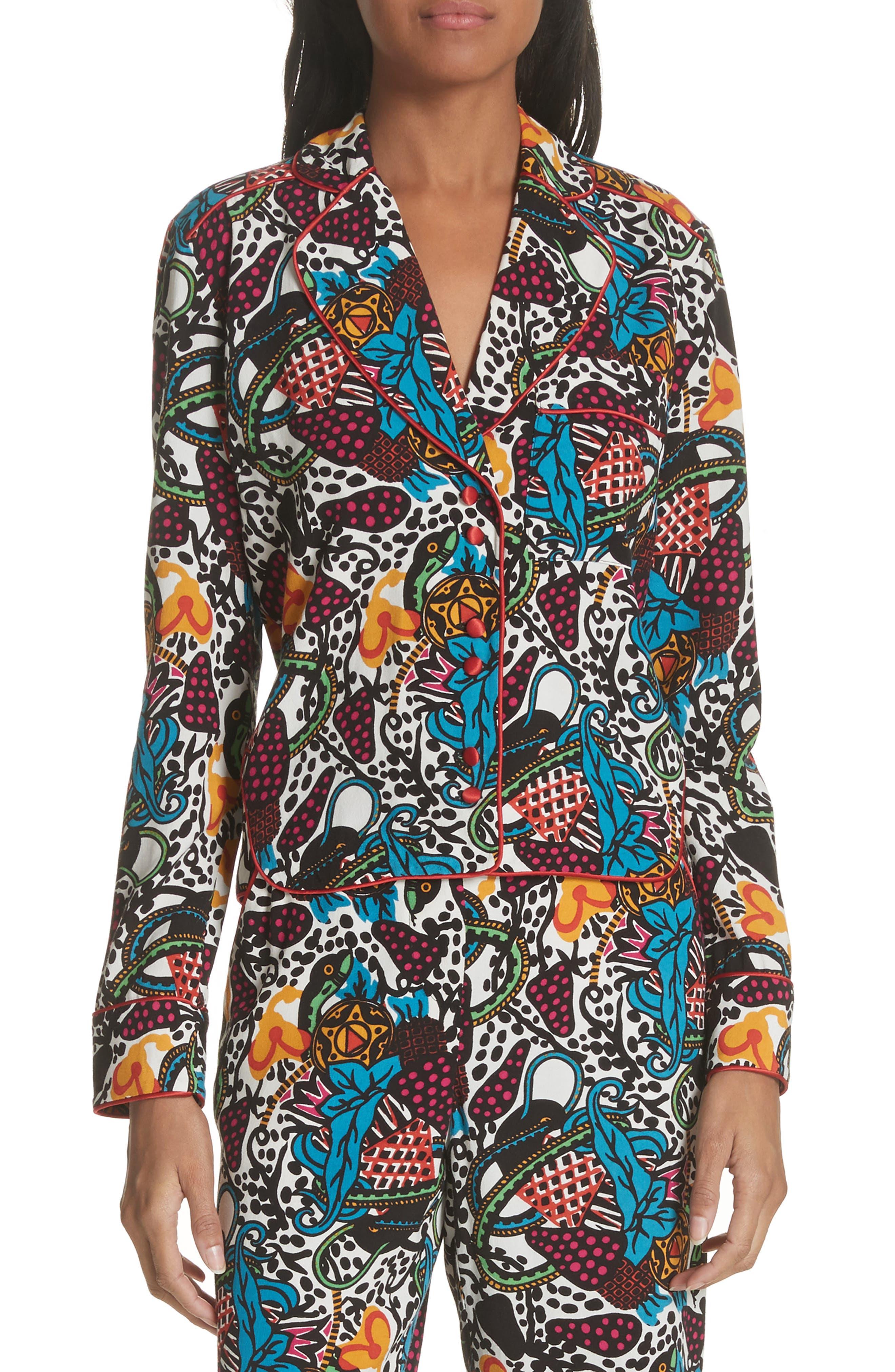 Penelope Pajama Shirt,                         Main,                         color, Off White/ Blue/ Green/ Yellow