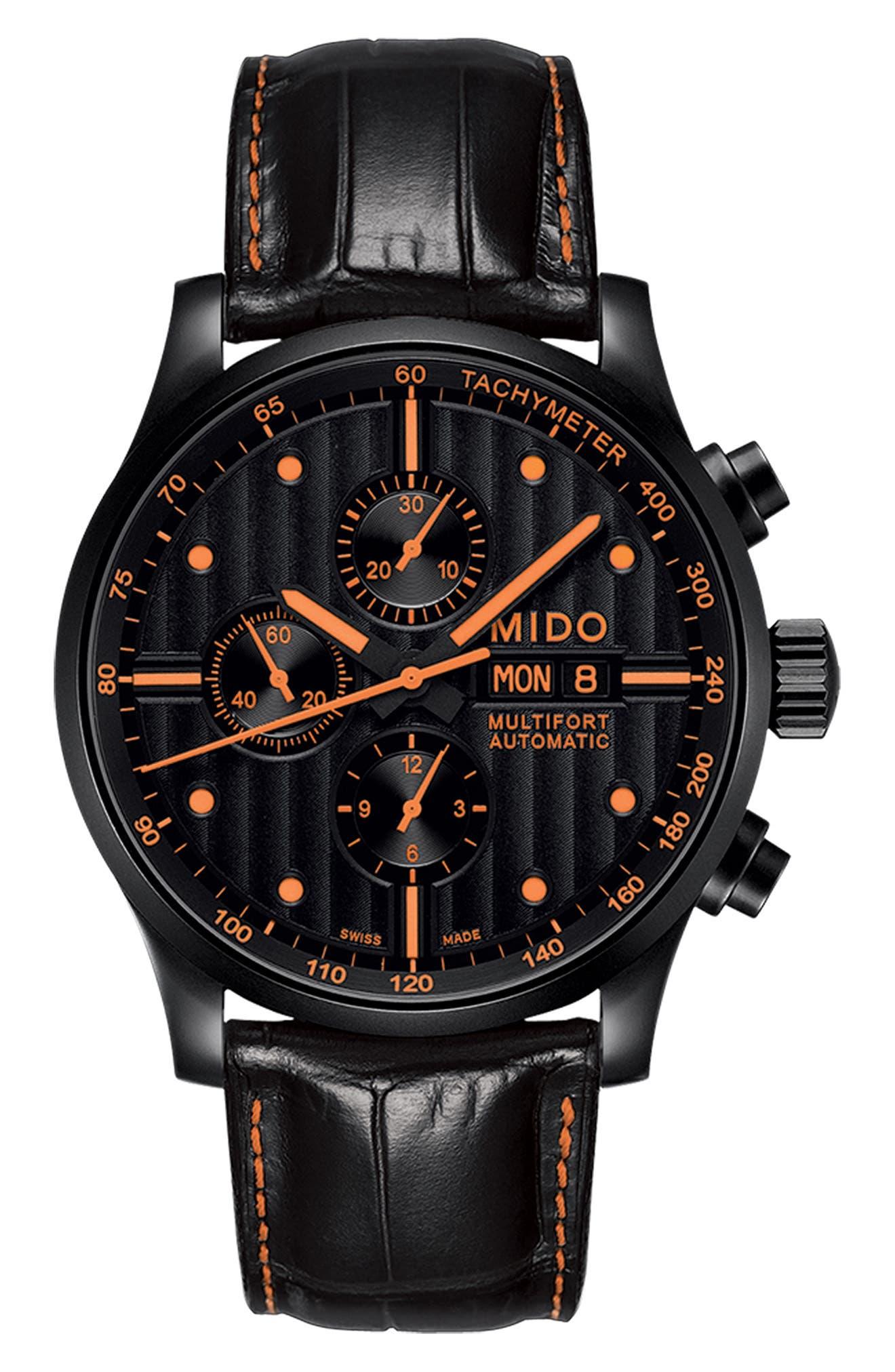 Multifort Automatic Chronograph Leather Strap Watch, 44mm,                             Alternate thumbnail 4, color,                             Black/ Orange