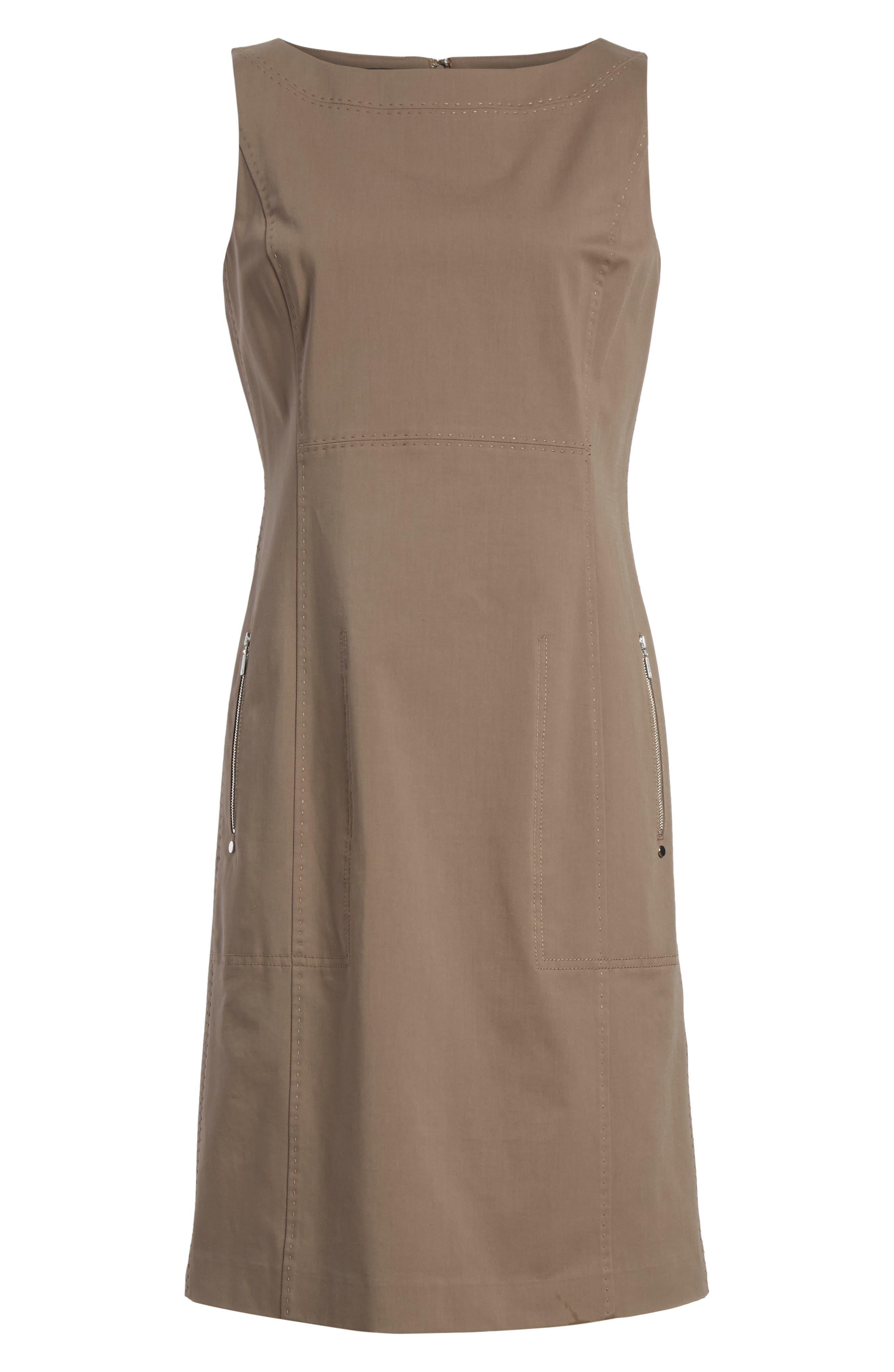 Paxton Sleeveless Sheath Dress,                             Alternate thumbnail 7, color,                             Nougat