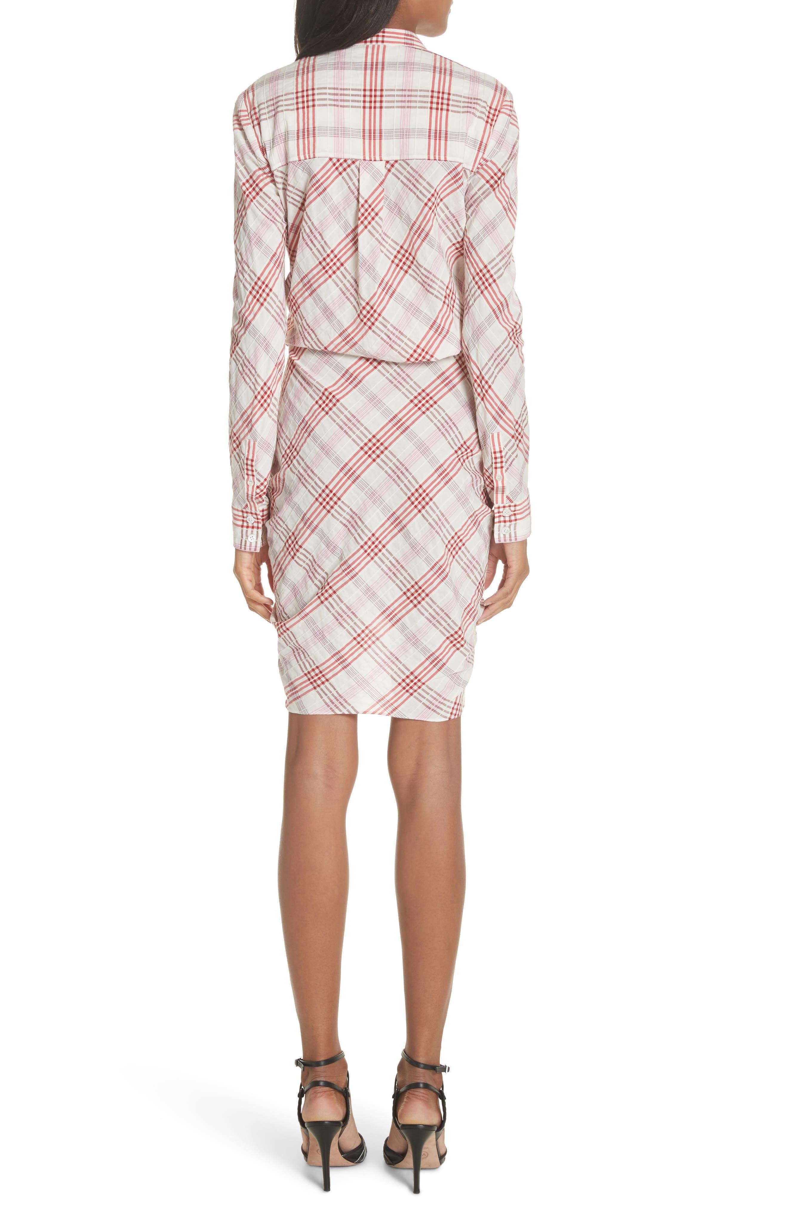 Della Gathered Plaid Dress,                             Alternate thumbnail 2, color,                             Pink