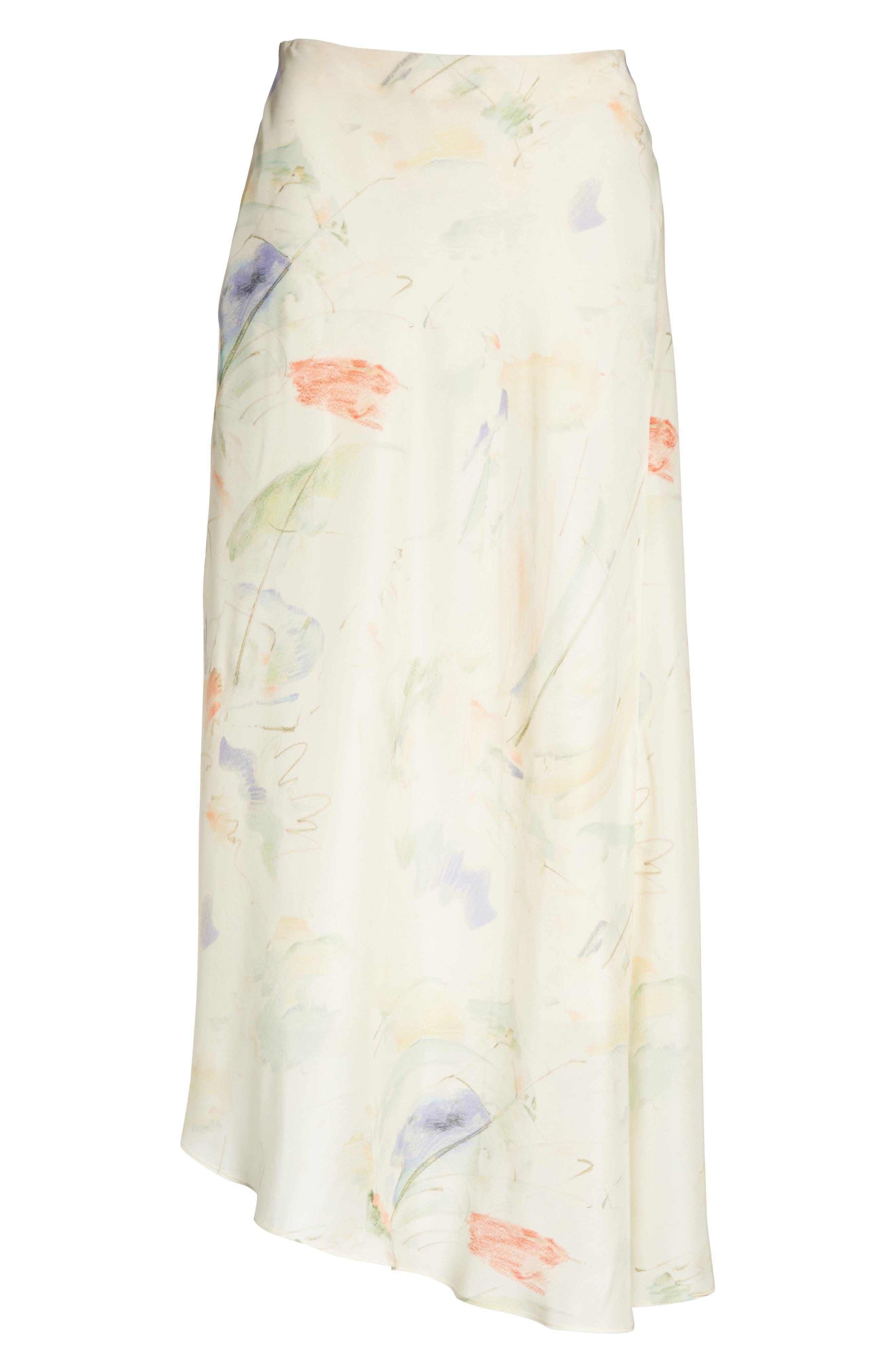 Dessie Modern Muse Print Silk Midi Skirt,                             Alternate thumbnail 6, color,                             Raffia Multi