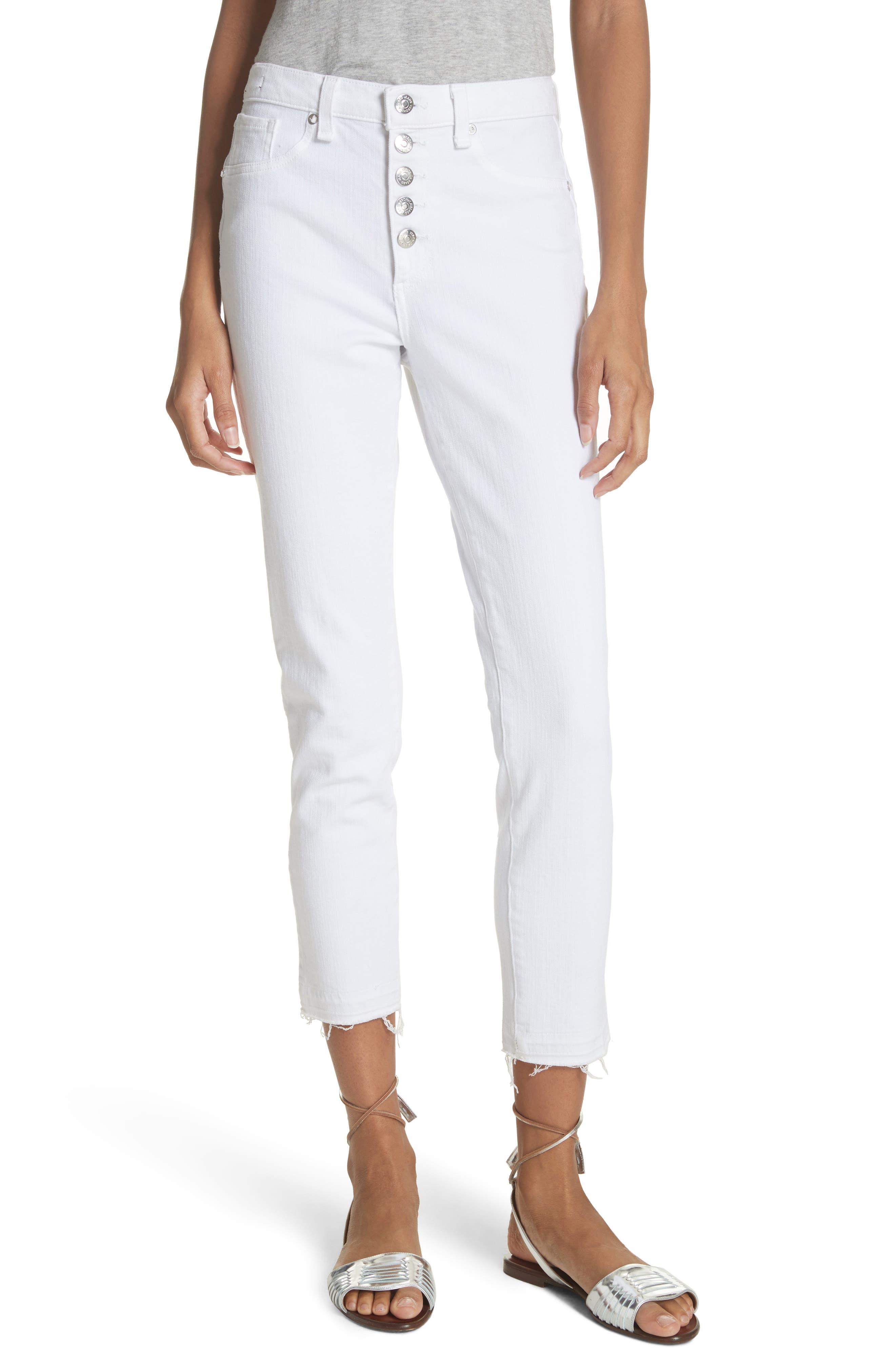 Debbie Frayed Crop Skinny Jeans,                         Main,                         color, White