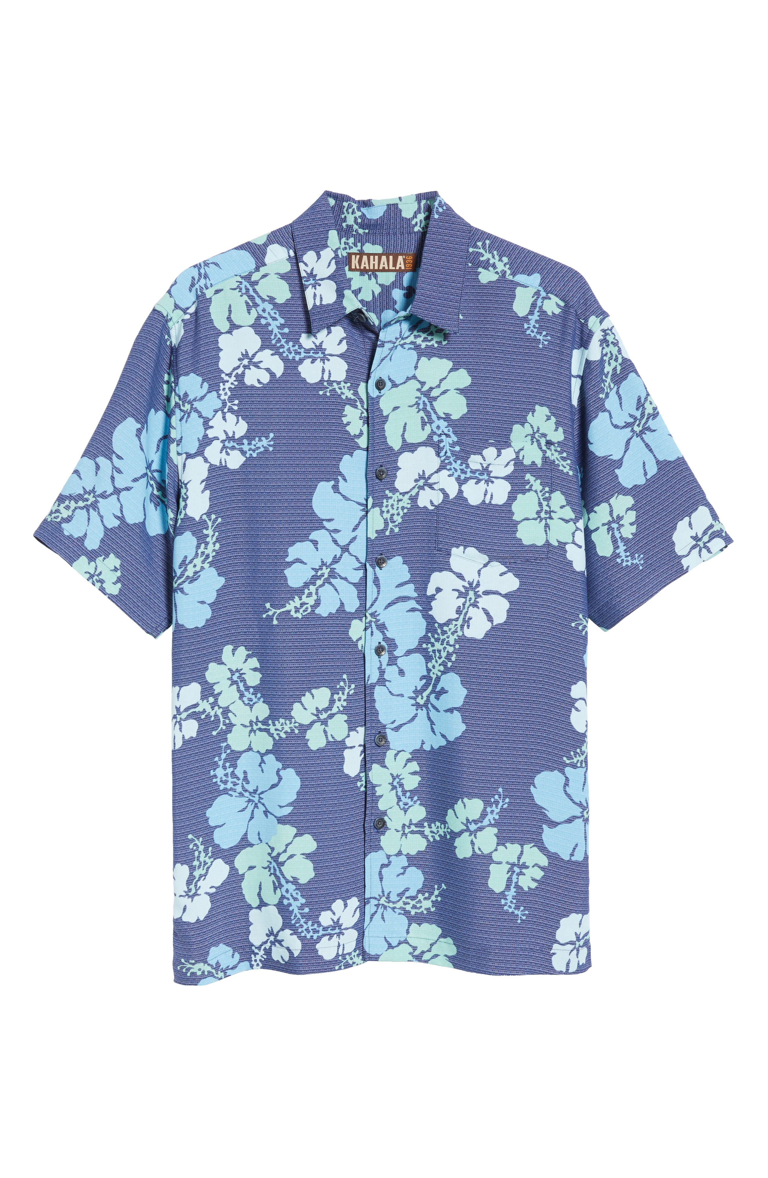 Lei Day Standard Fit Camp Shirt,                             Alternate thumbnail 6, color,                             Navy