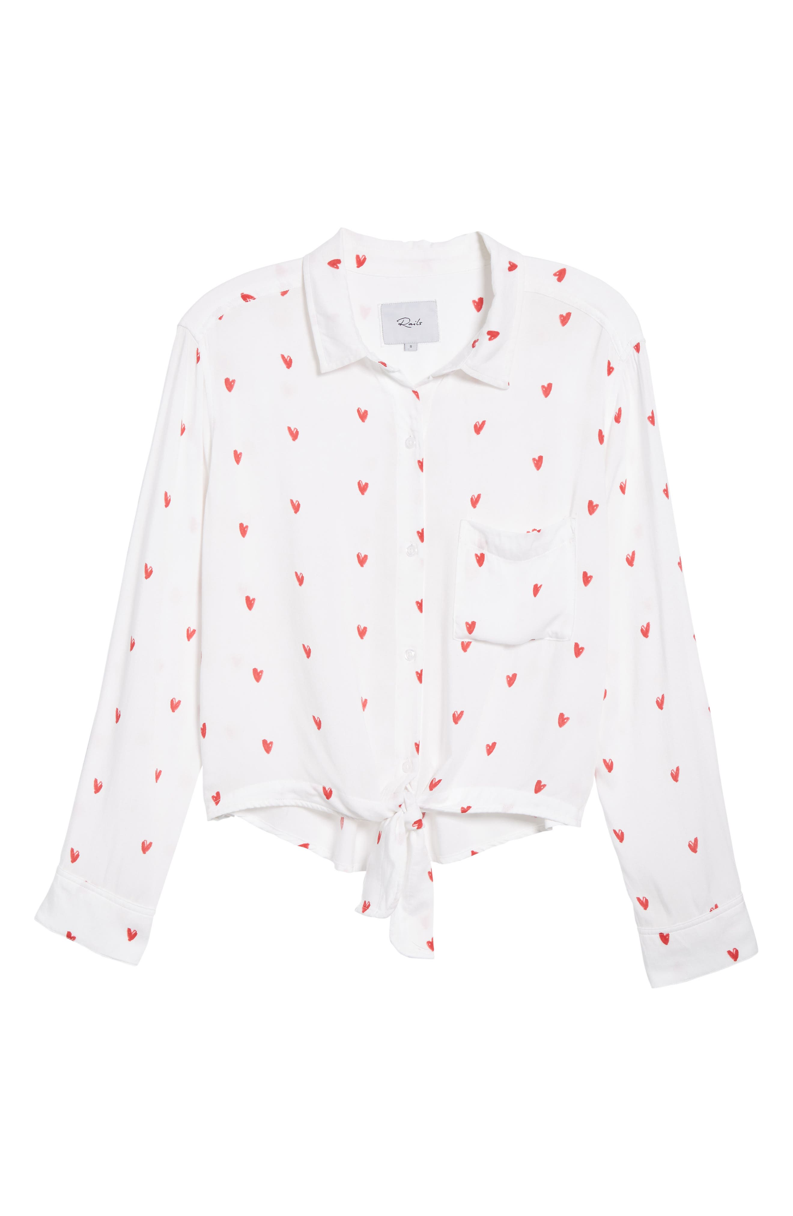 Val Tie Front Shirt,                             Alternate thumbnail 7, color,                             Lipstick Hearts