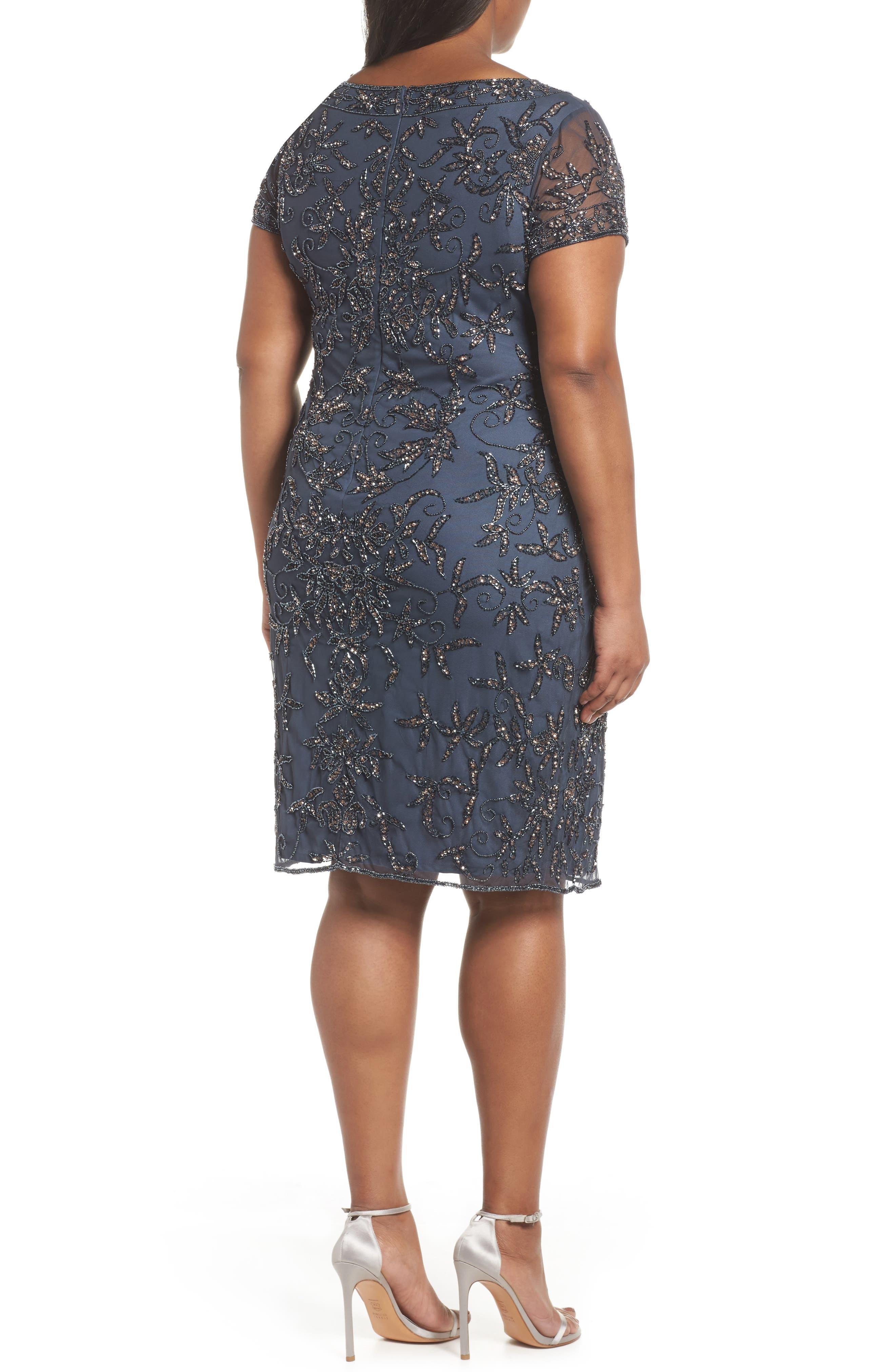 Embellished Sheath Dress,                             Alternate thumbnail 2, color,                             Slate