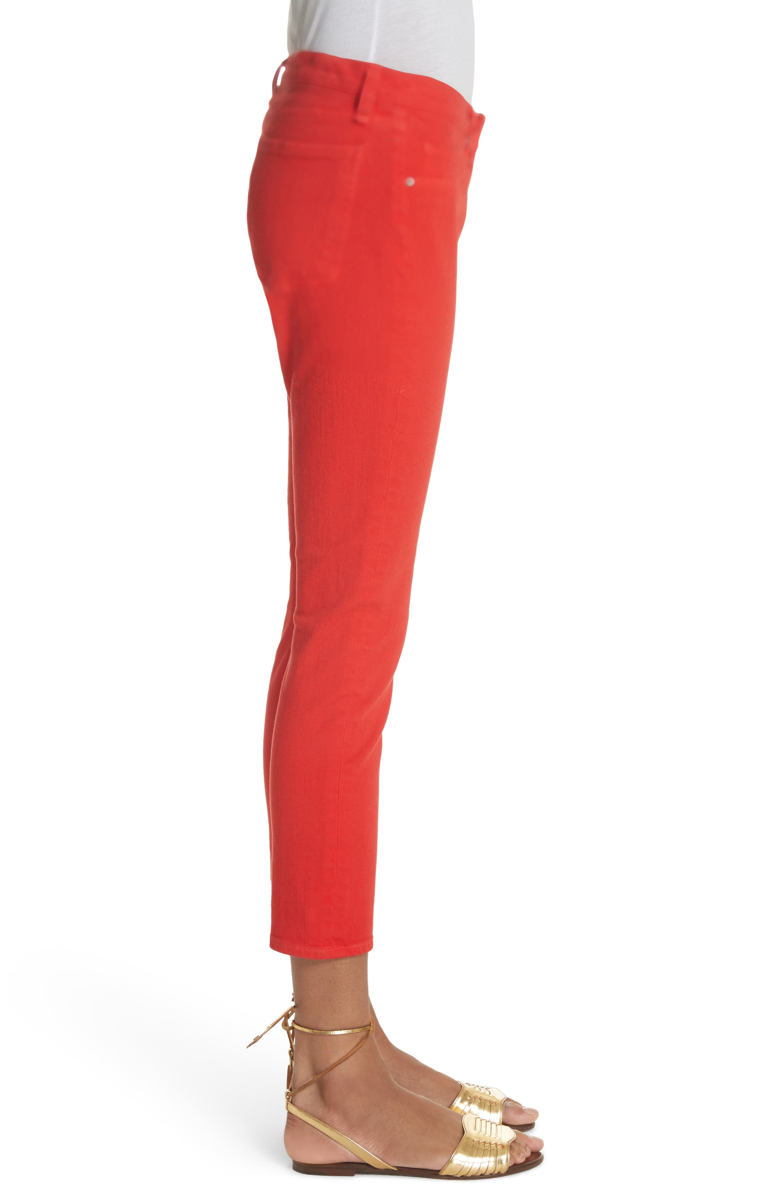 Brook Crop Skinny Jeans,                             Alternate thumbnail 3, color,                             Neon Red