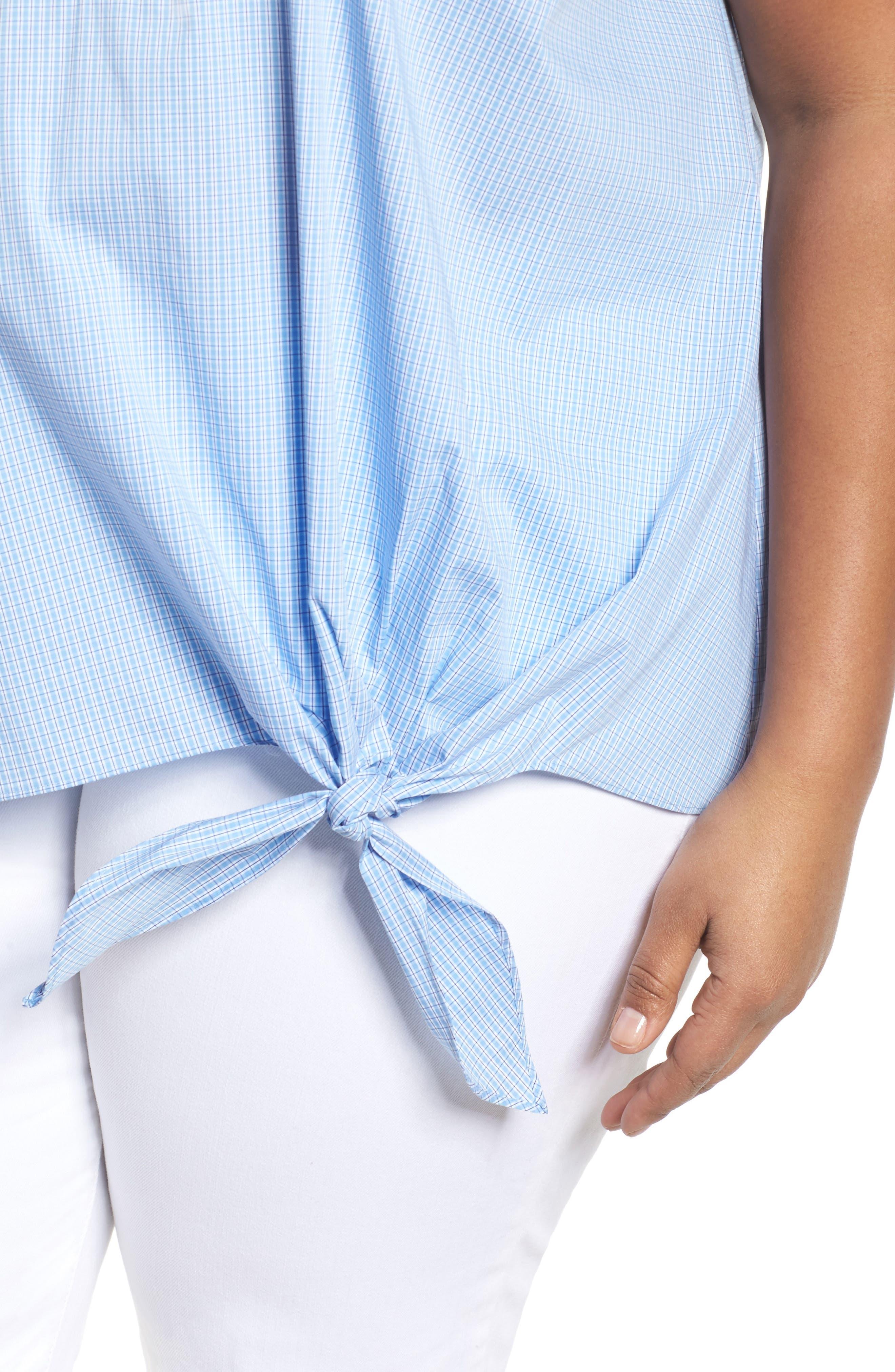 Side Tie Stretch Poplin Top,                             Alternate thumbnail 4, color,                             Blue Lily Plaid