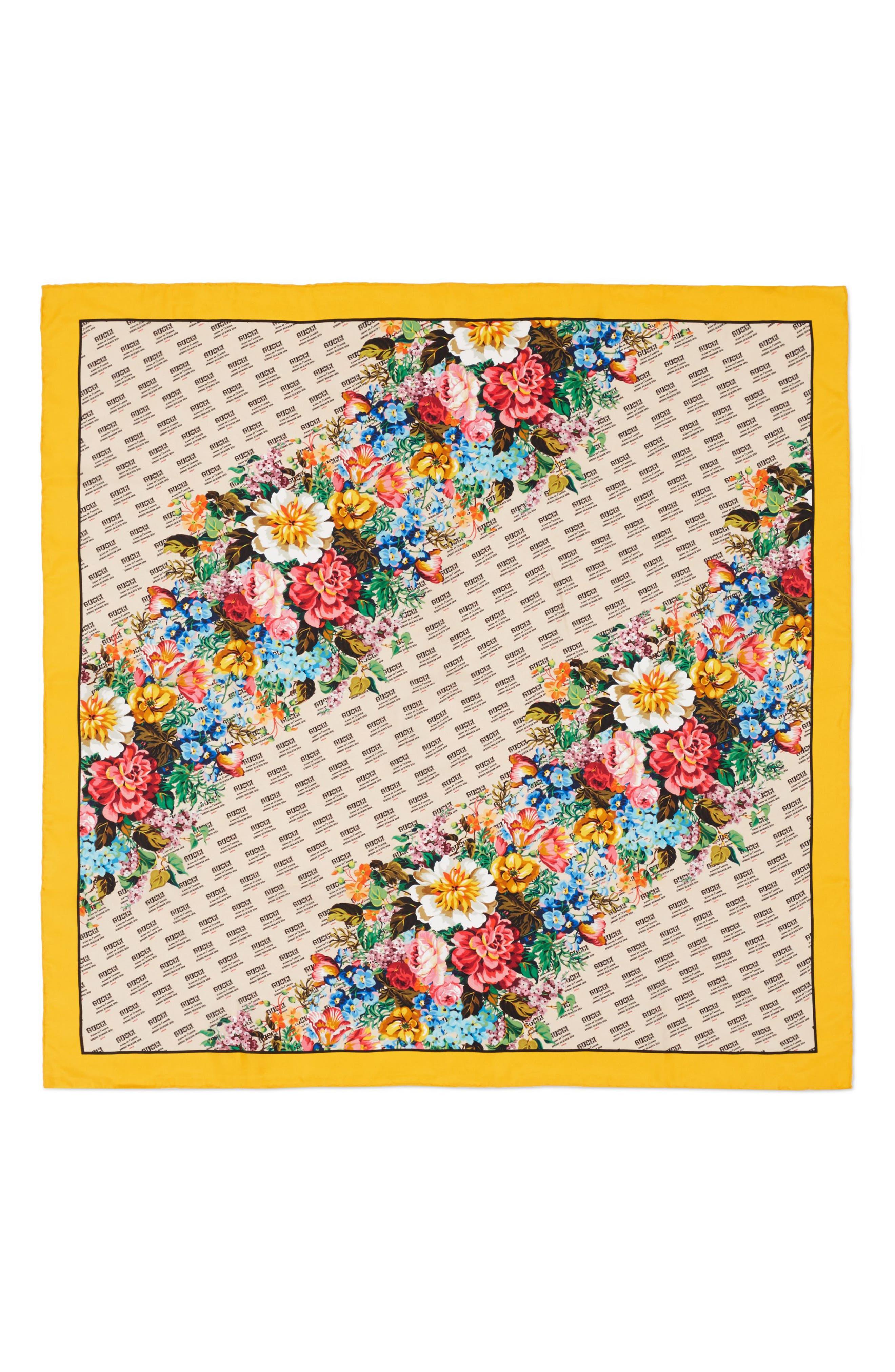 Night Flower Stripes Foulard Silk Twill Scarf,                             Main thumbnail 1, color,                             Ivory/ Yellow