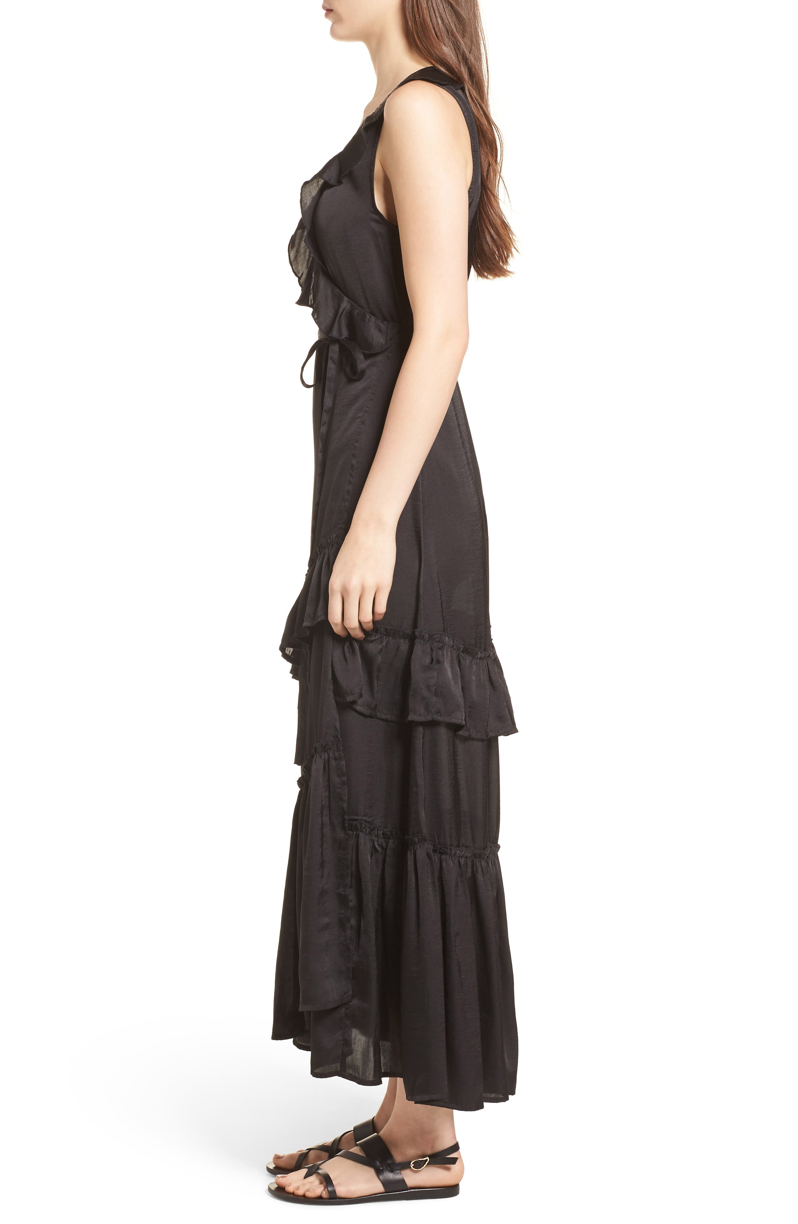 Ruffle Wrap Dress,                             Alternate thumbnail 3, color,                             Black