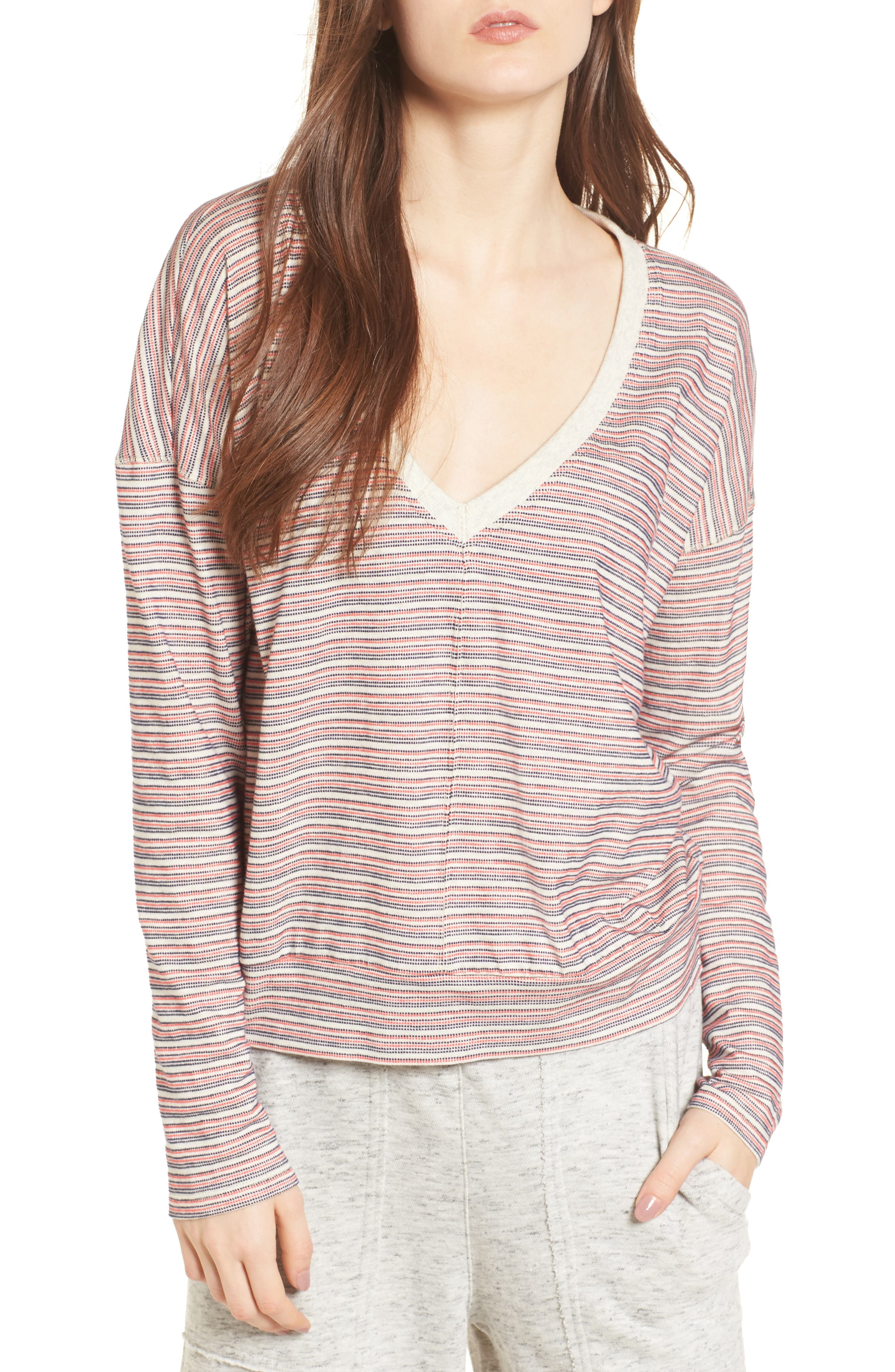 Stripe Pullover,                             Main thumbnail 1, color,                             Off White