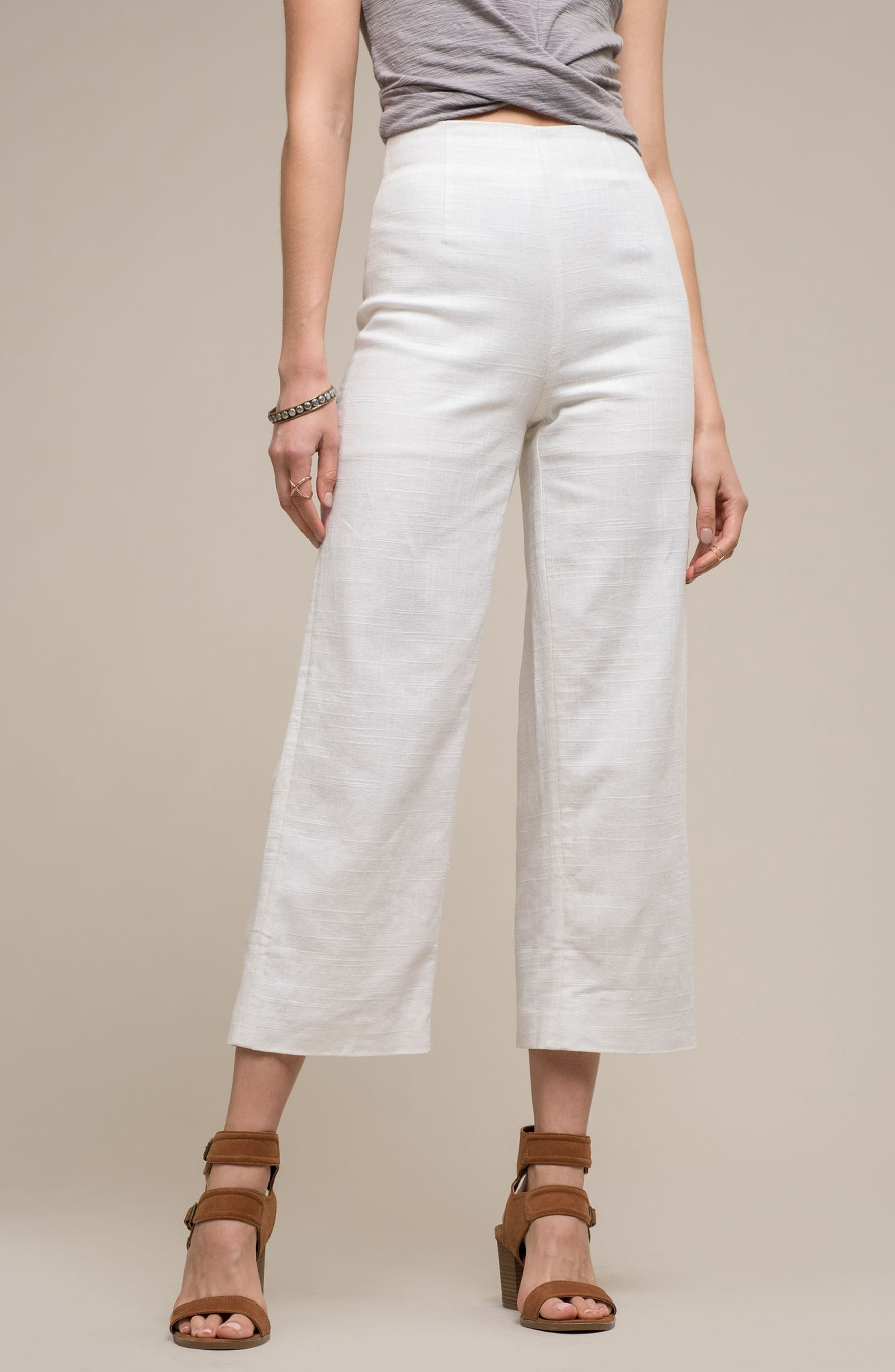 Linen High Waist Crop Pants,                             Alternate thumbnail 2, color,                             White