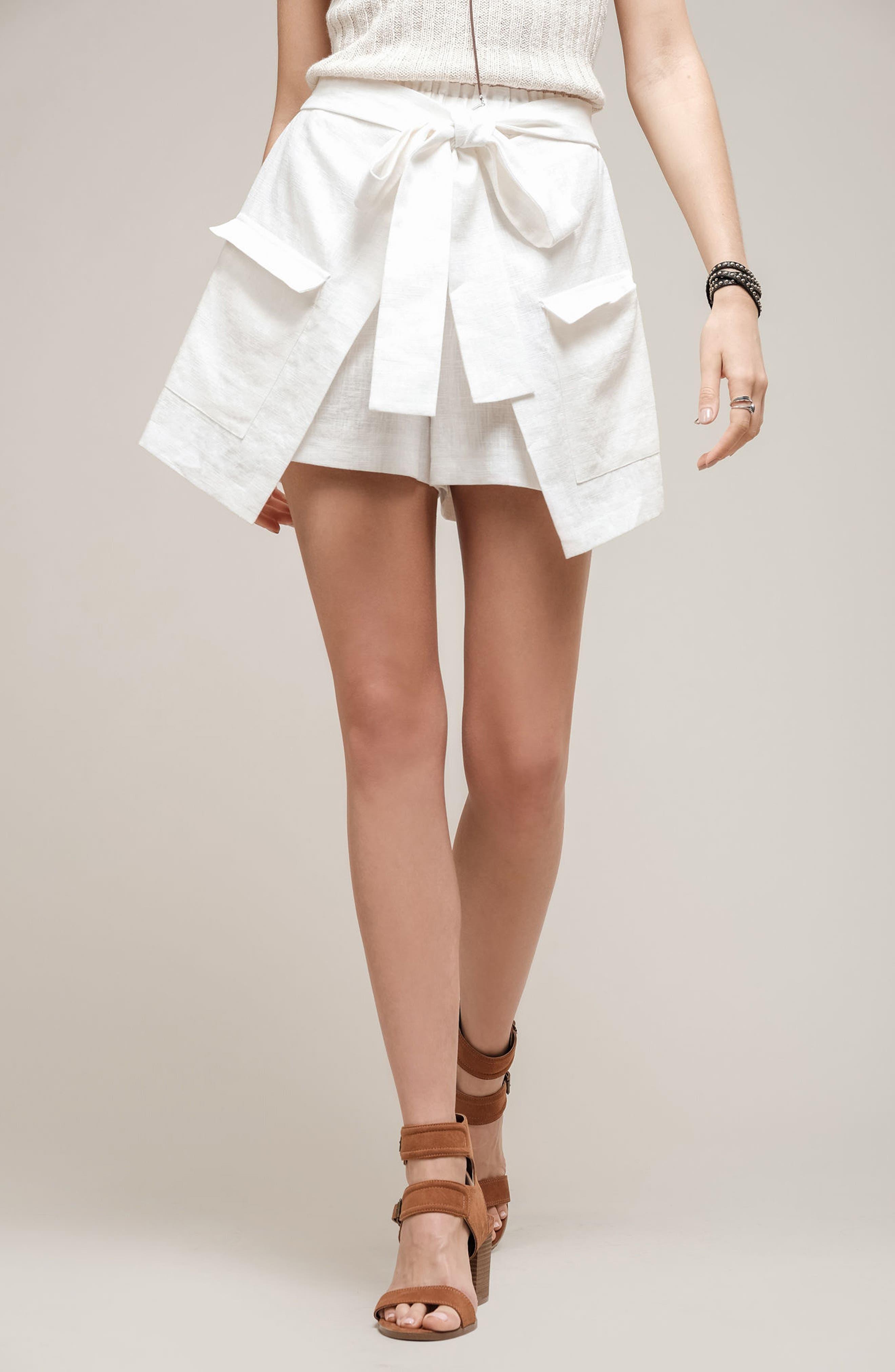 Tie Front Linen & Cotton Skort,                             Alternate thumbnail 2, color,                             White