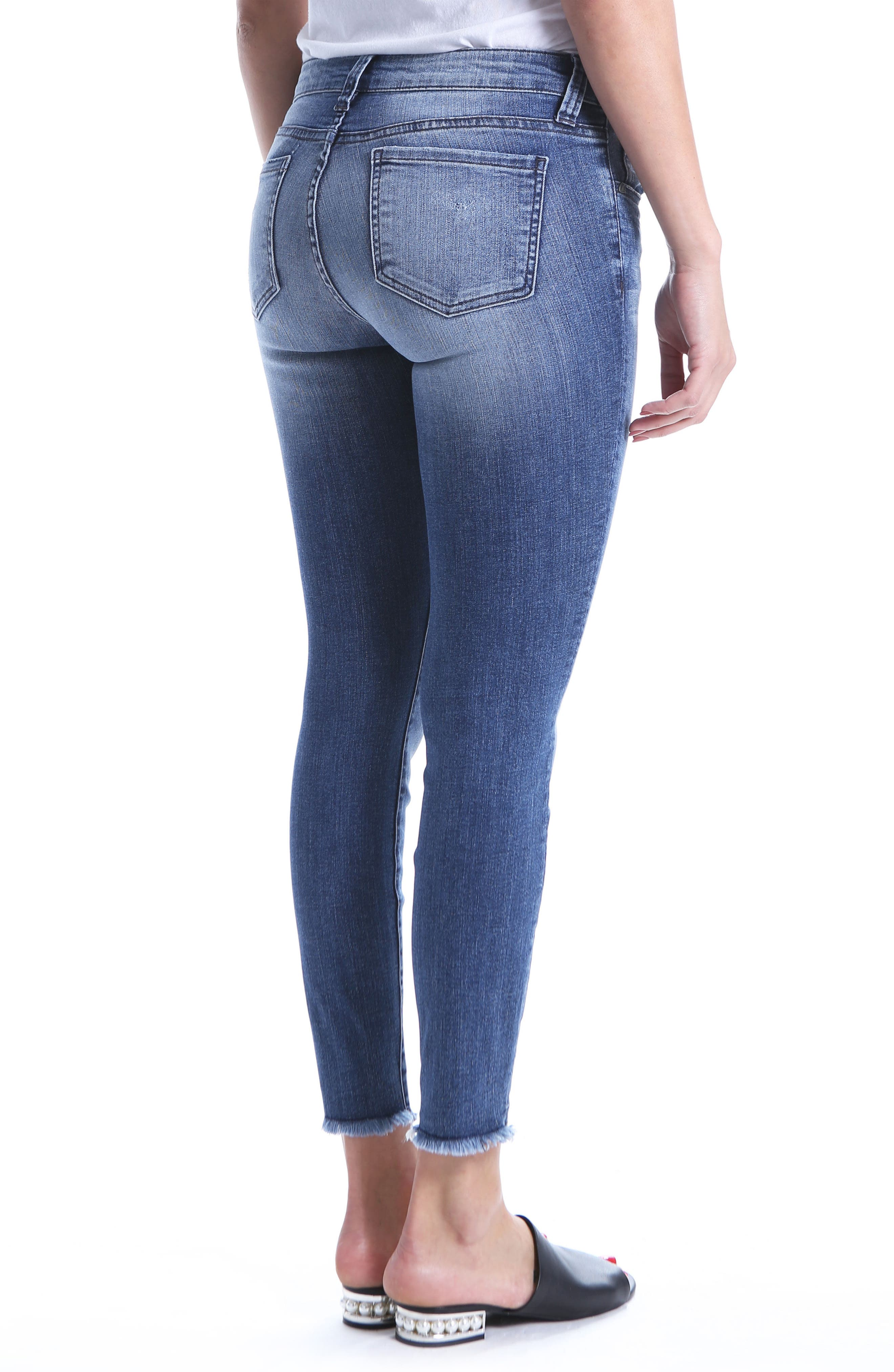 Connie Ripped Distressed Frayed Hem Jeans,                             Alternate thumbnail 2, color,                             Galvanized