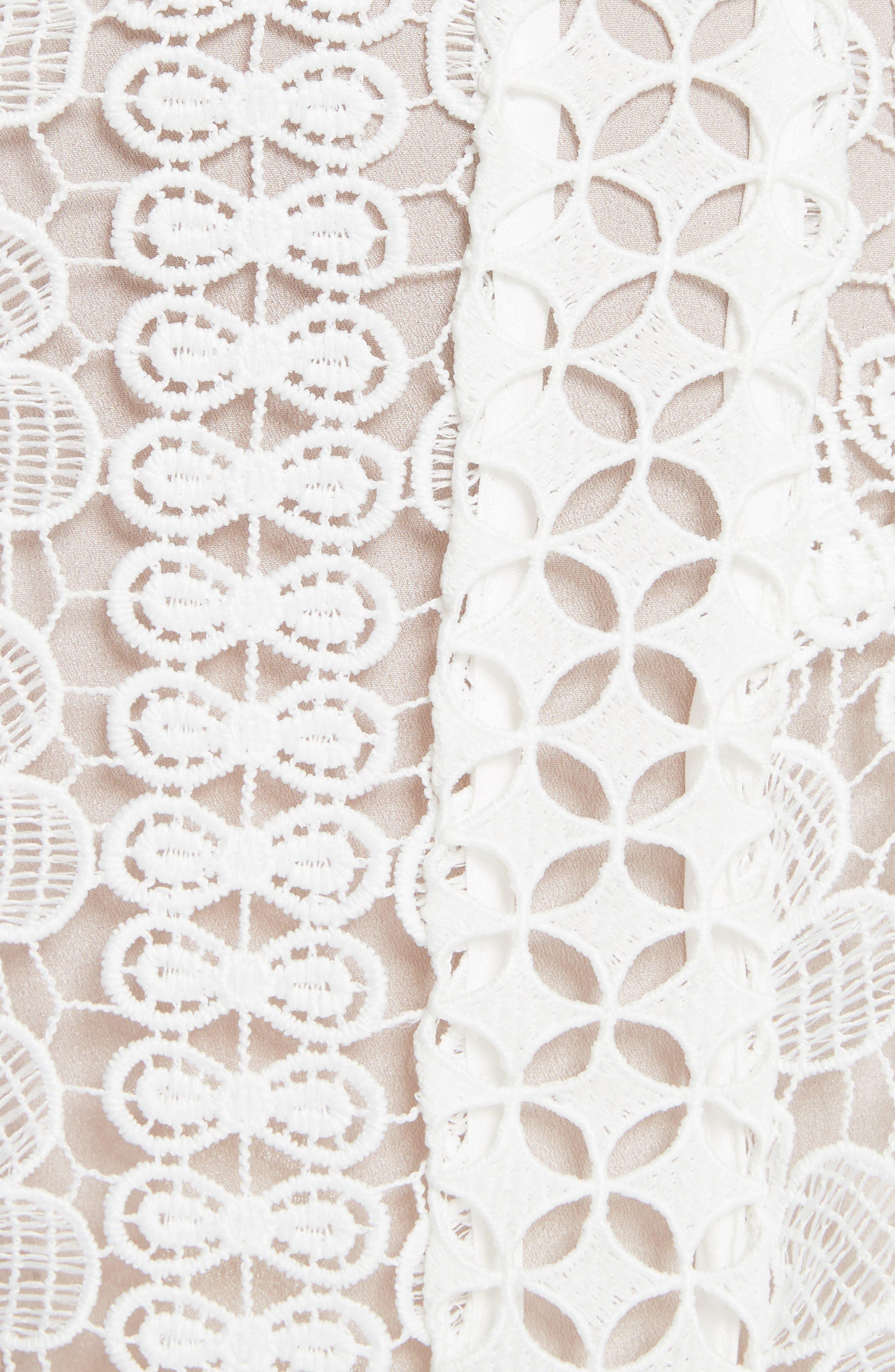 Floral Guipure Lace Midi Dress,                             Alternate thumbnail 5, color,                             White