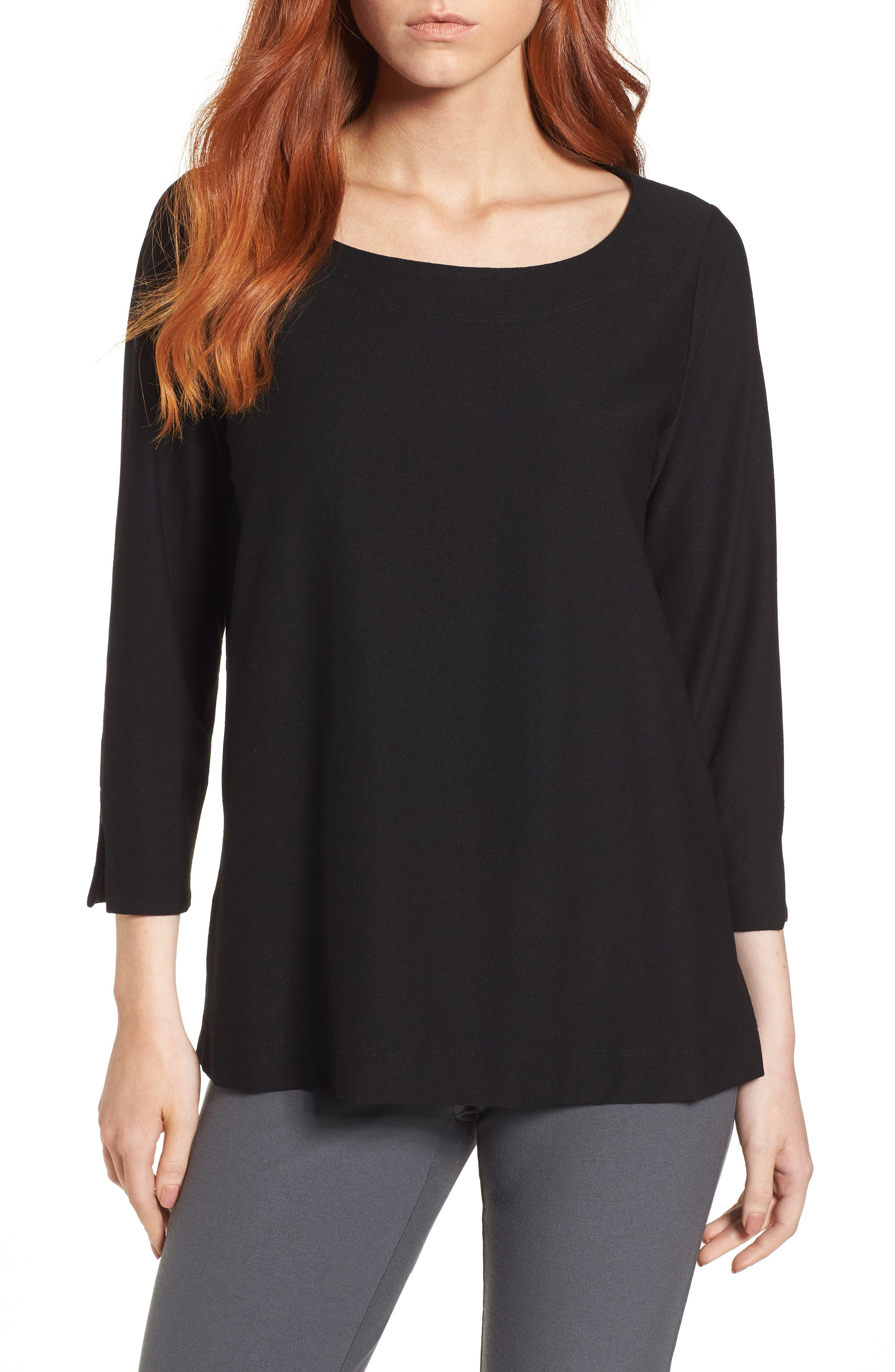Boxy Jersey Top,                         Main,                         color, Black