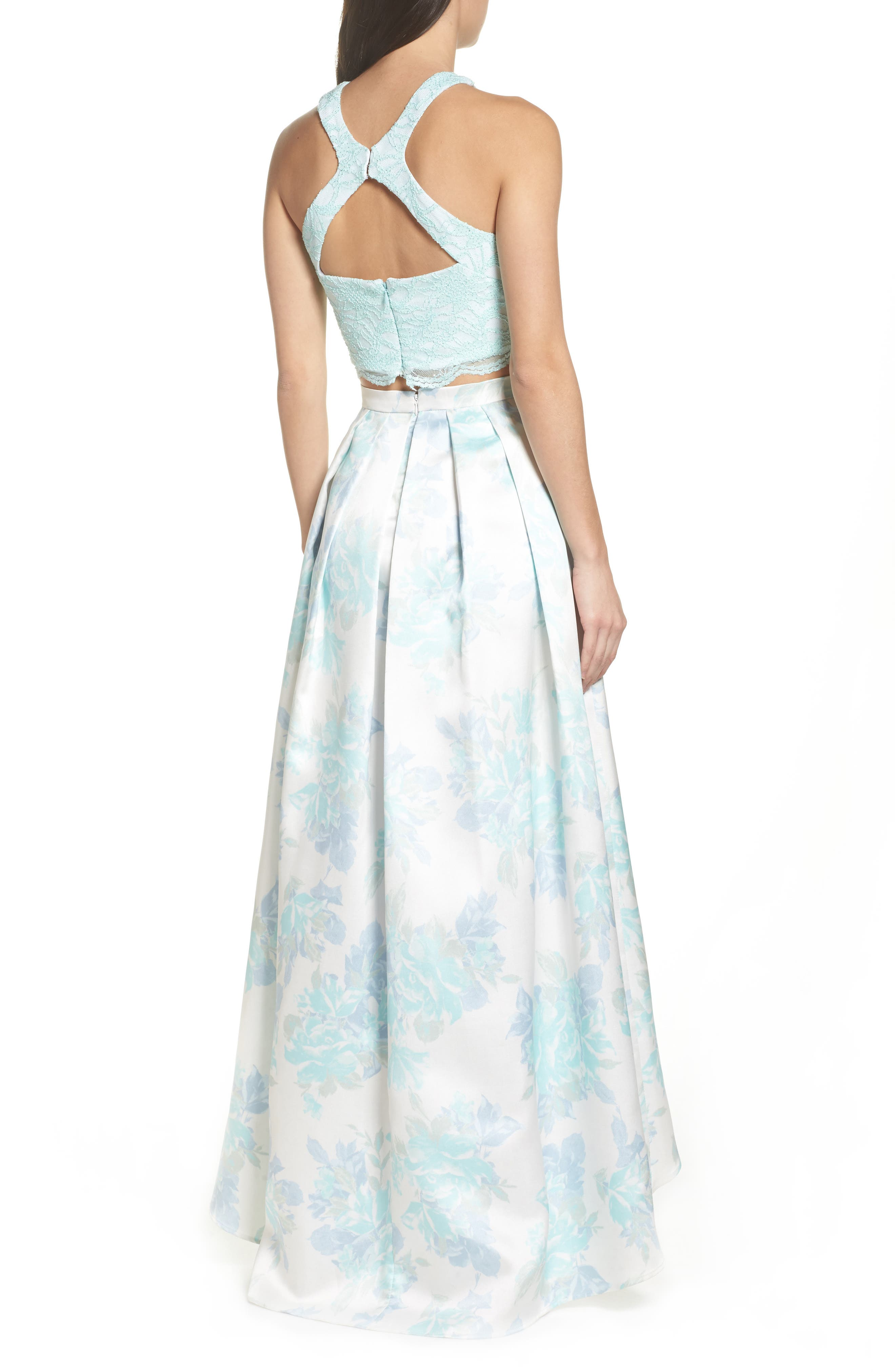 Two-Piece Lace High/Low Dress,                             Alternate thumbnail 2, color,                             Mint / Ivory