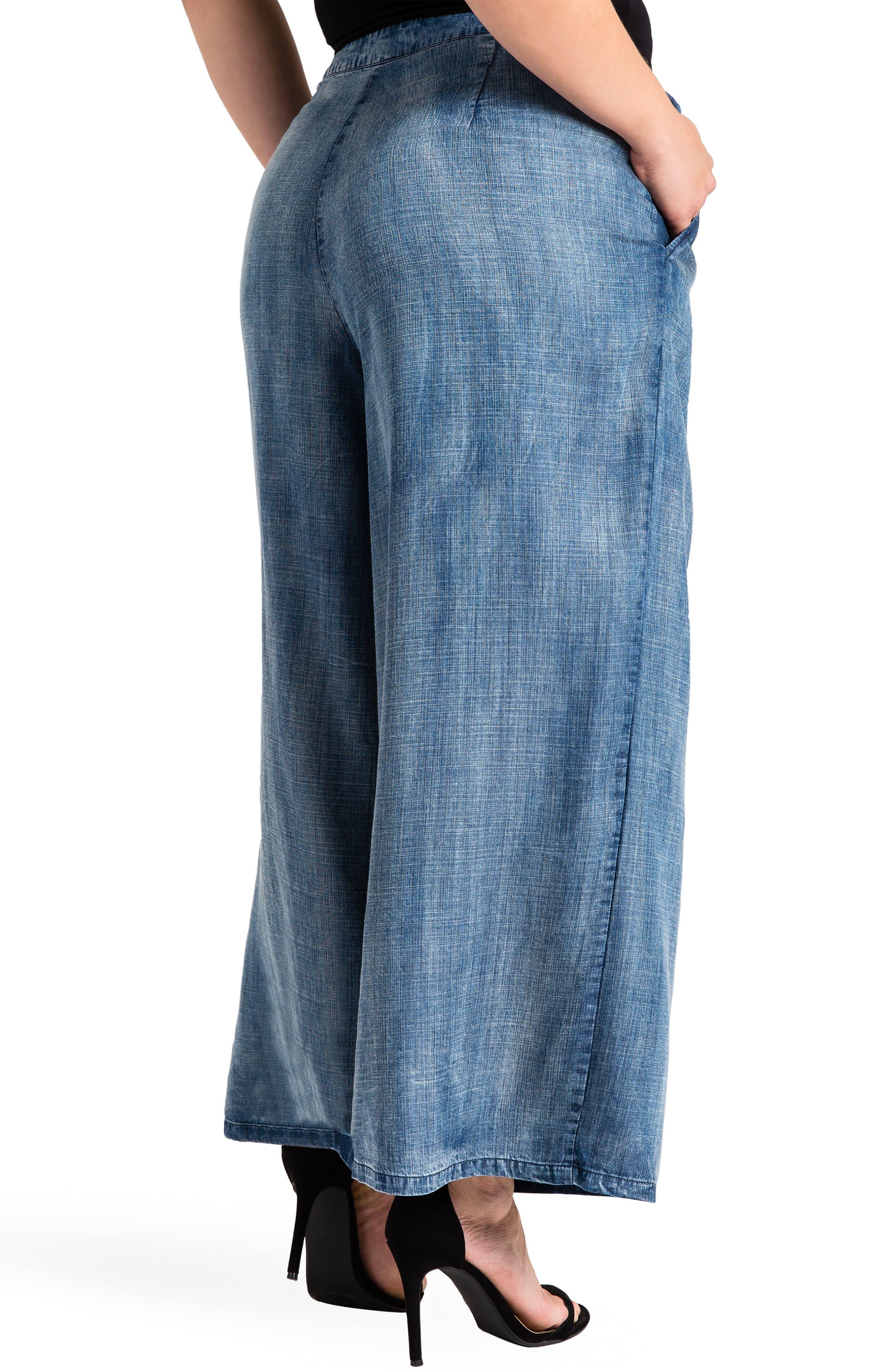Sophi Crop Wide Leg Pants,                             Alternate thumbnail 2, color,                             Medium Blue