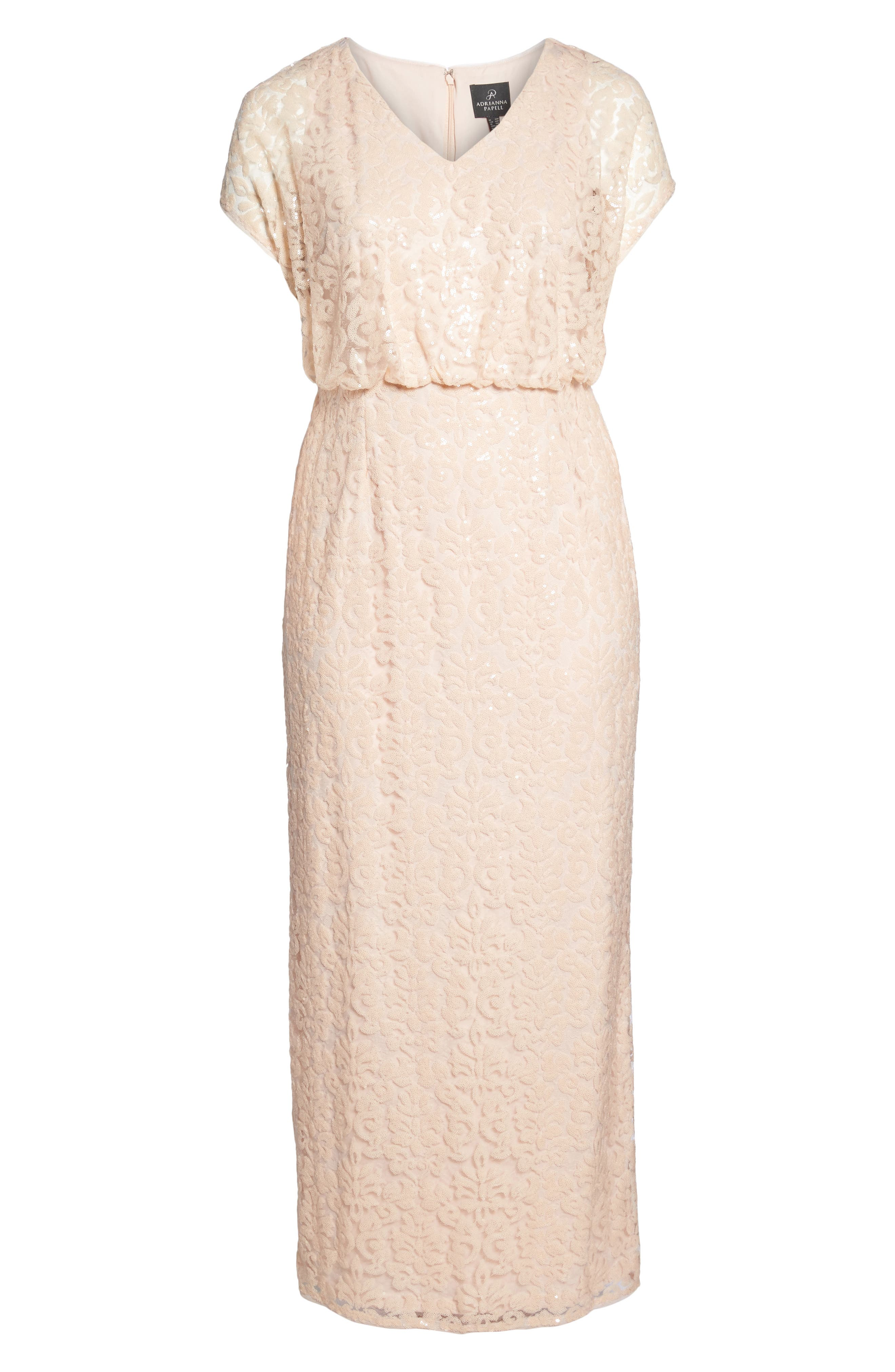 Sequin Embellished Blouson Gown,                             Alternate thumbnail 6, color,                             Blush