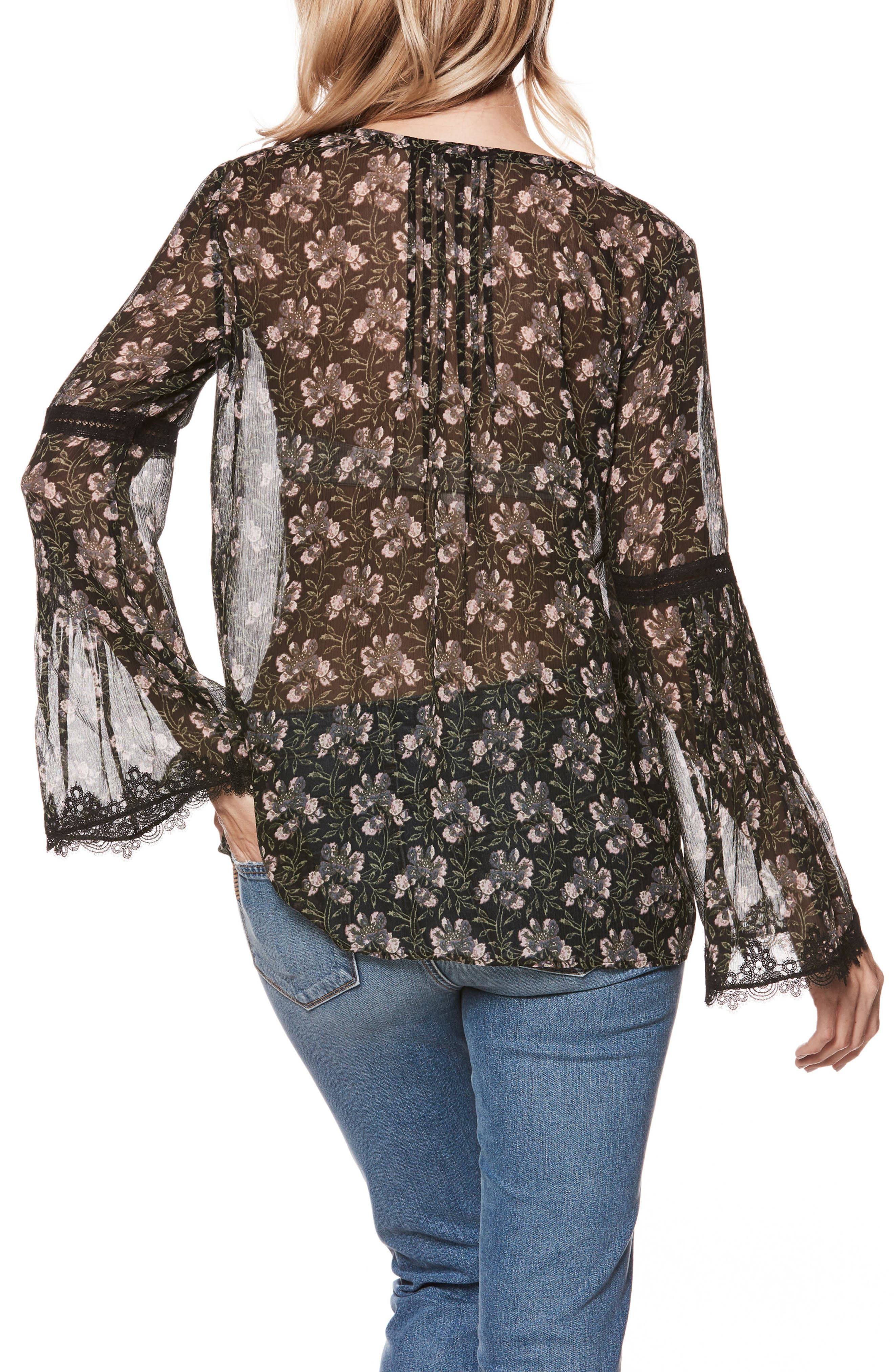 Clio Floral Bell Sleeve Silk Blouse,                             Alternate thumbnail 2, color,                             Storm Cloud Floral