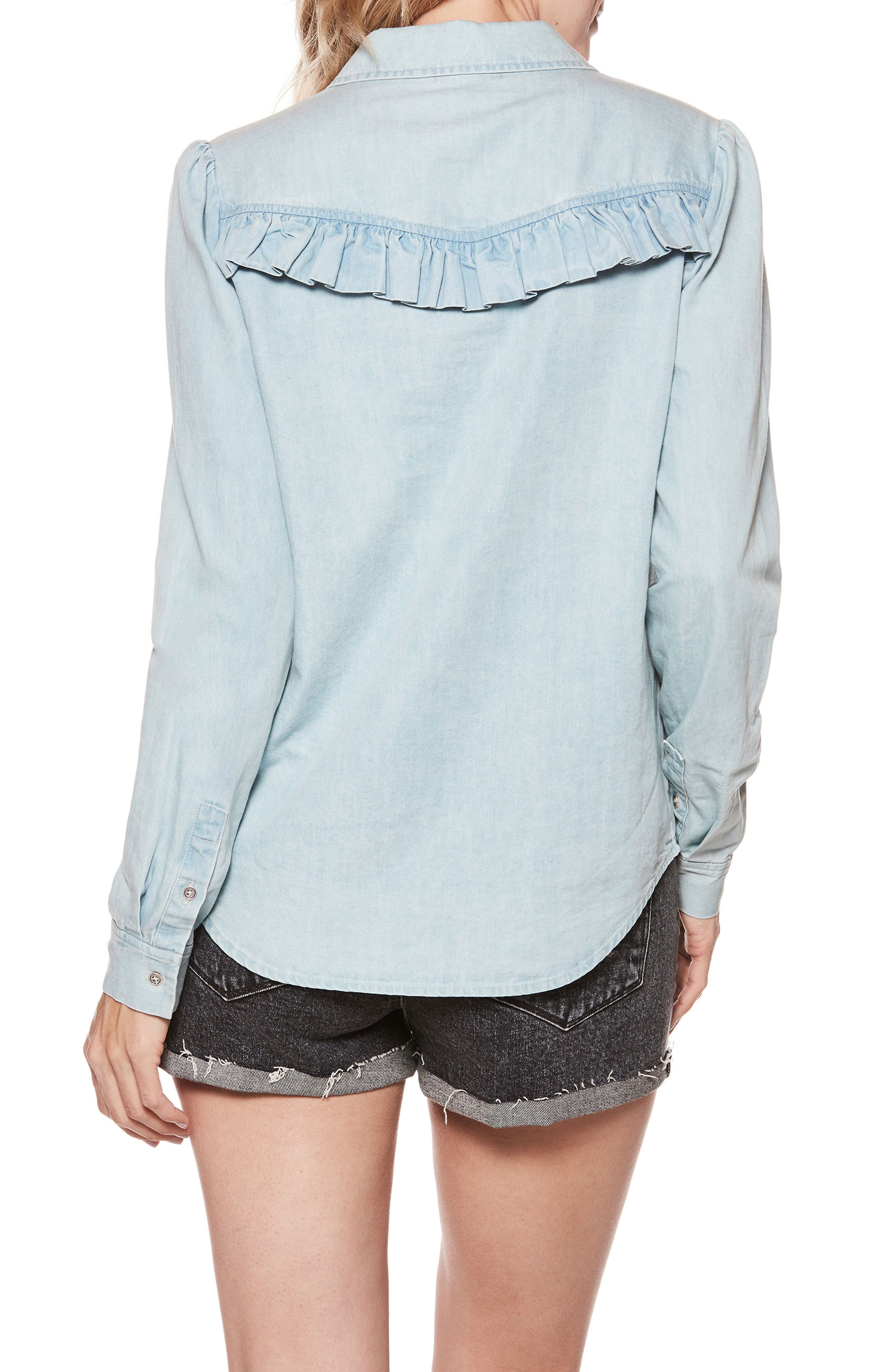 Layda Ruffle Western Chambray Shirt,                             Alternate thumbnail 3, color,                             Trey