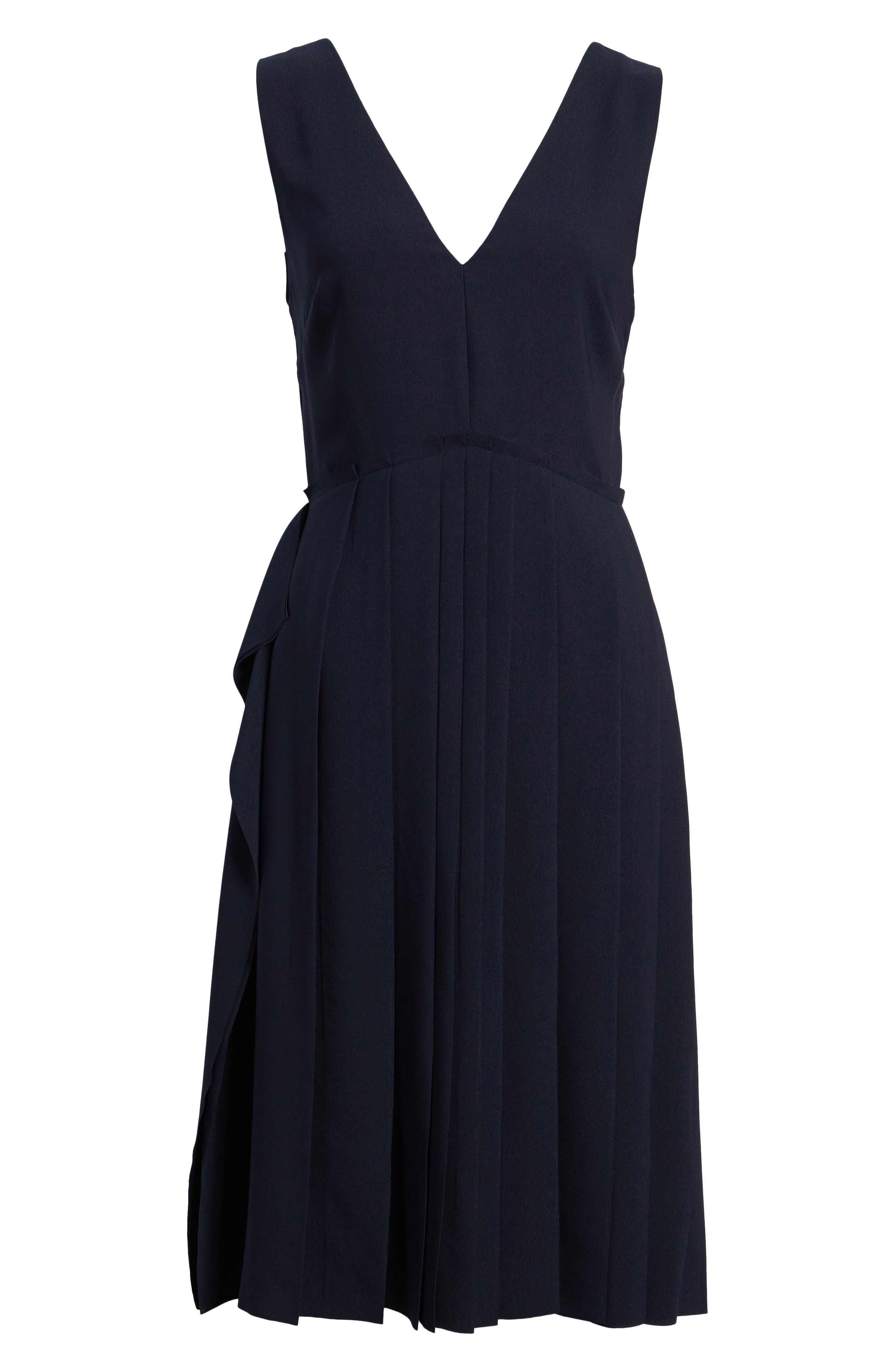 Pleated Fit & Flare Dress,                             Alternate thumbnail 6, color,                             Navy Night