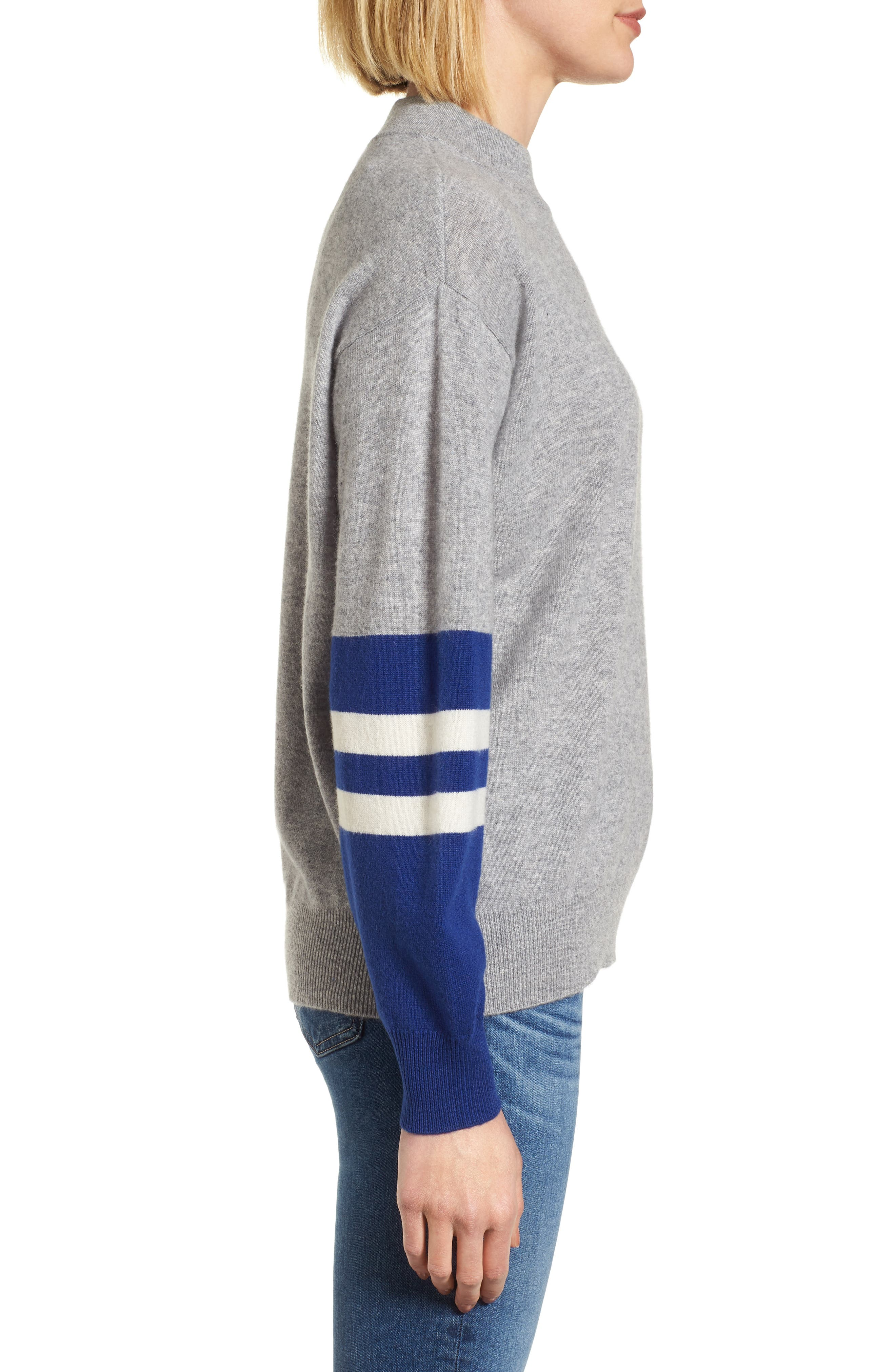 Colorblock Cashmere Sweater,                             Alternate thumbnail 3, color,                             Heather Grey