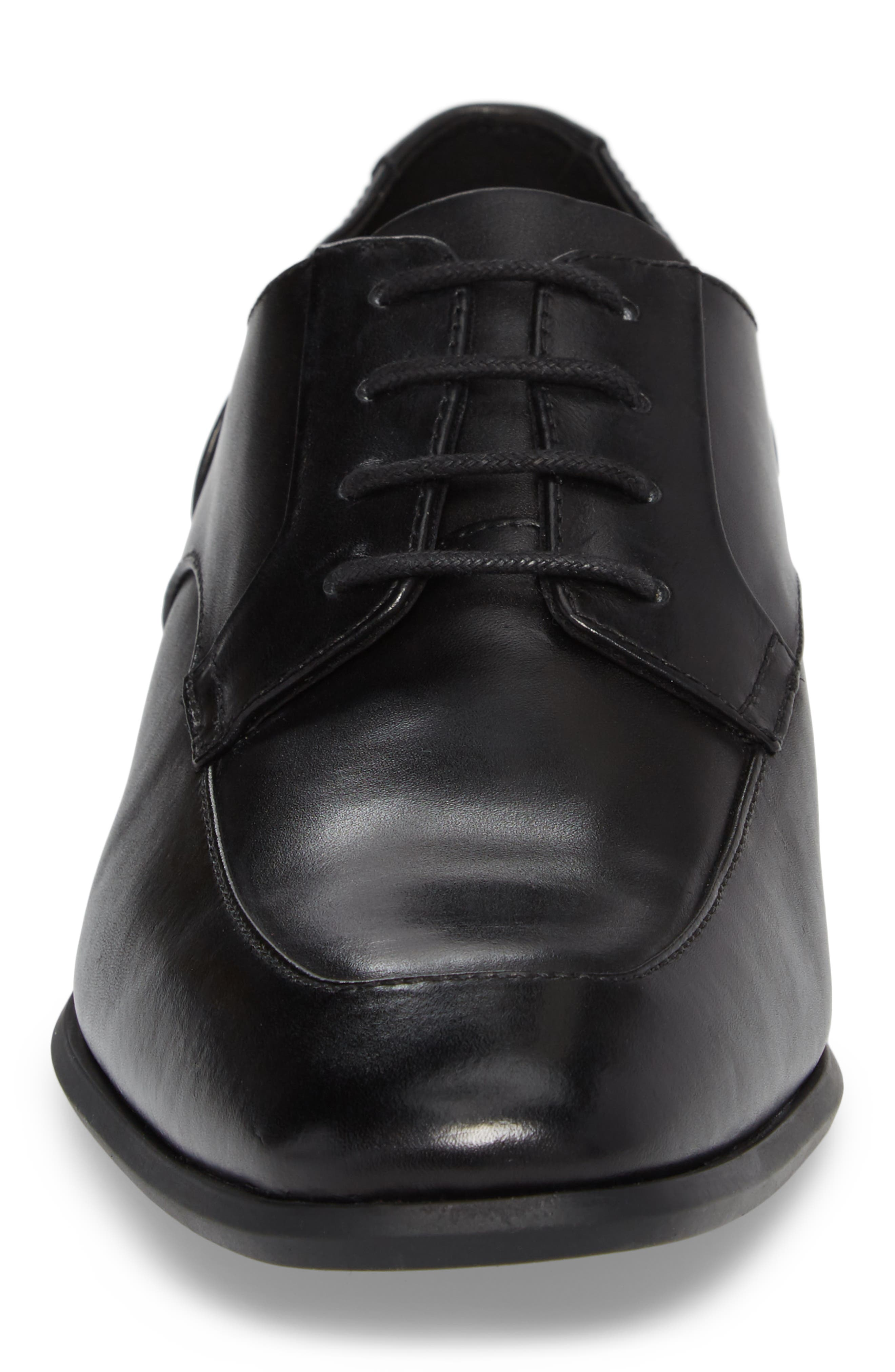 Lazarus Apron Toe Derby,                             Alternate thumbnail 4, color,                             Black Leather