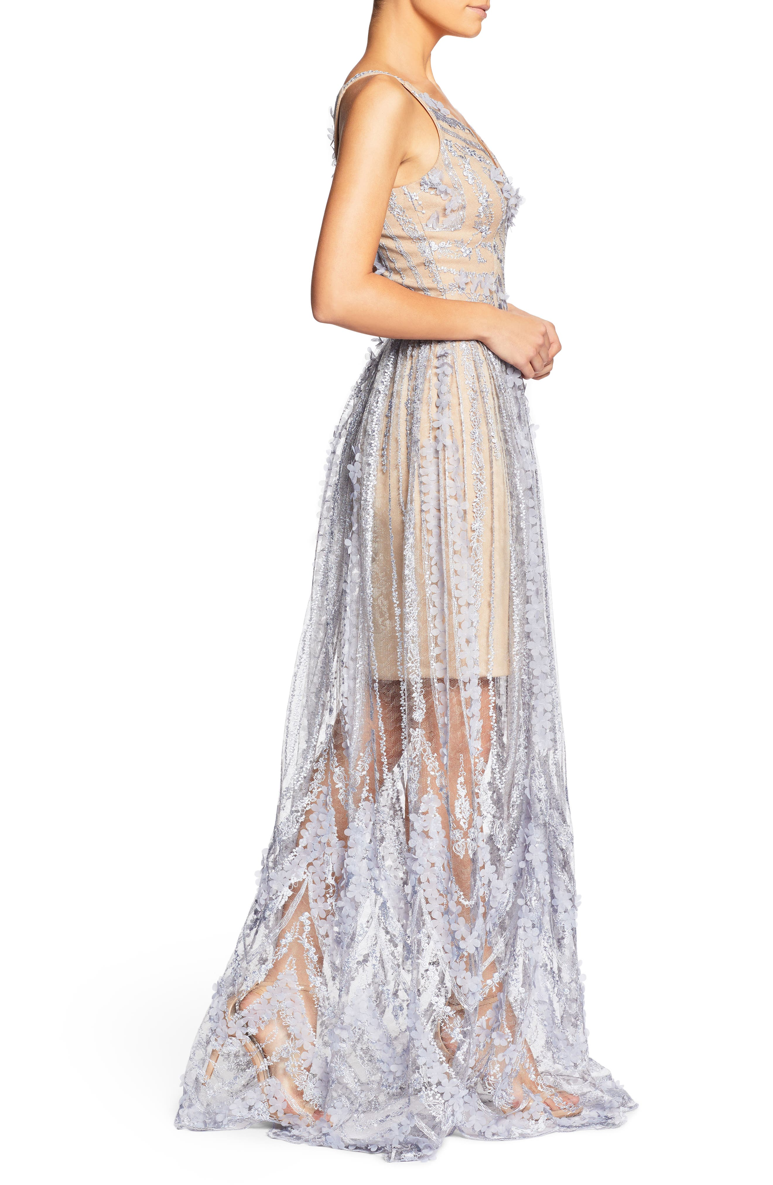 Chelsea Lace A-Line Gown,                             Alternate thumbnail 3, color,                             Mineral Blue/ Nude