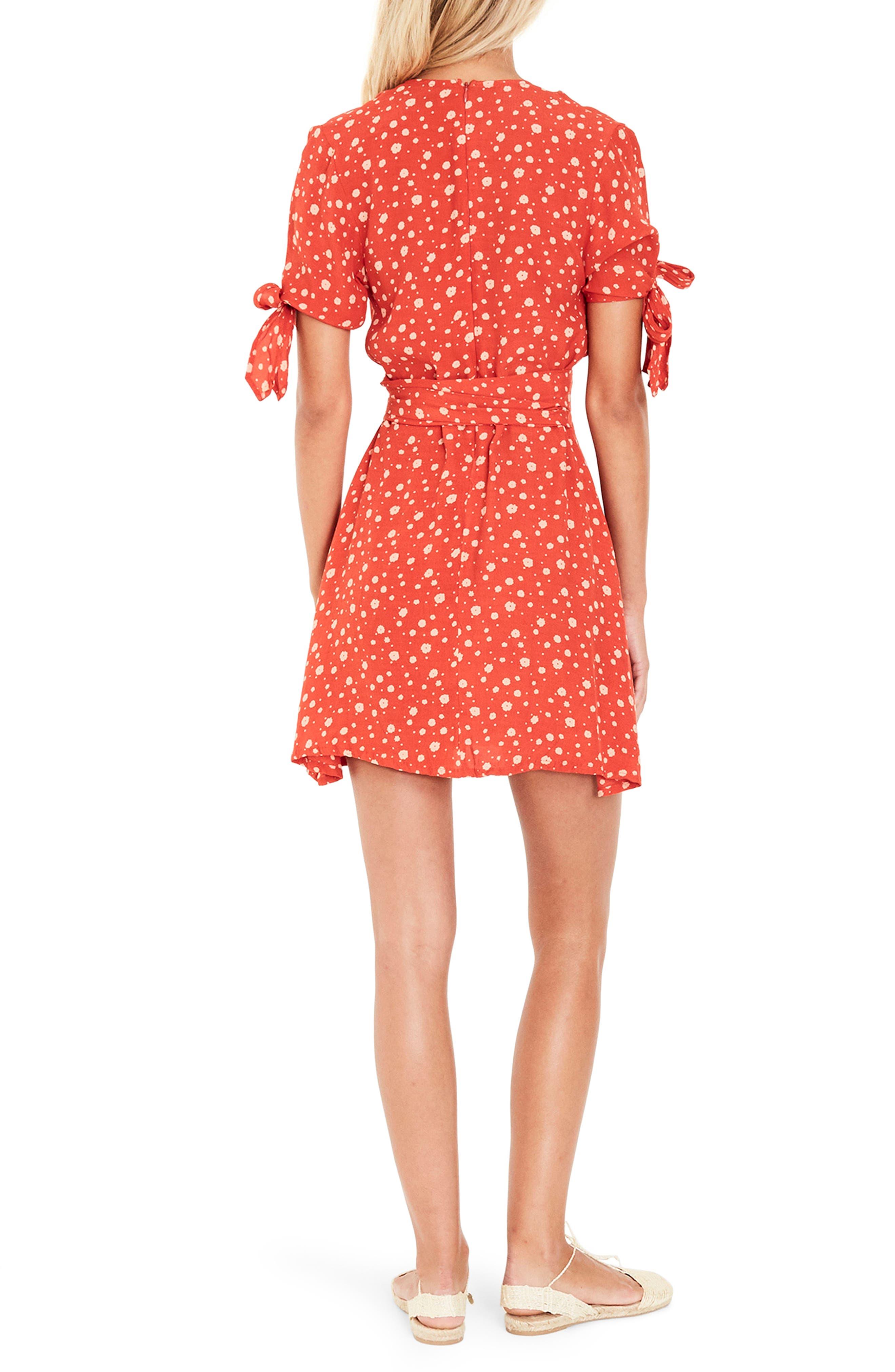 Brigit Tie Detail Dress,                             Alternate thumbnail 3, color,                             Cherry