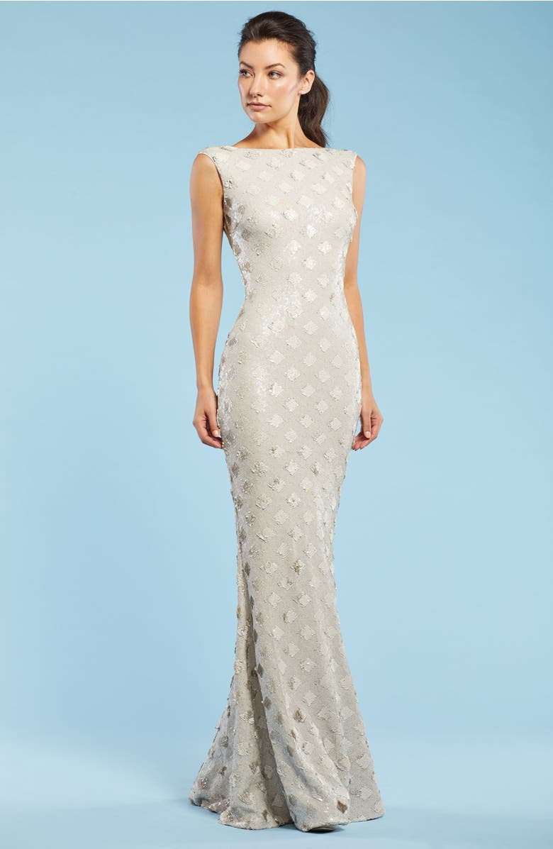 Yvette Sequin Trumpet Gown, Alternate, color, Bone