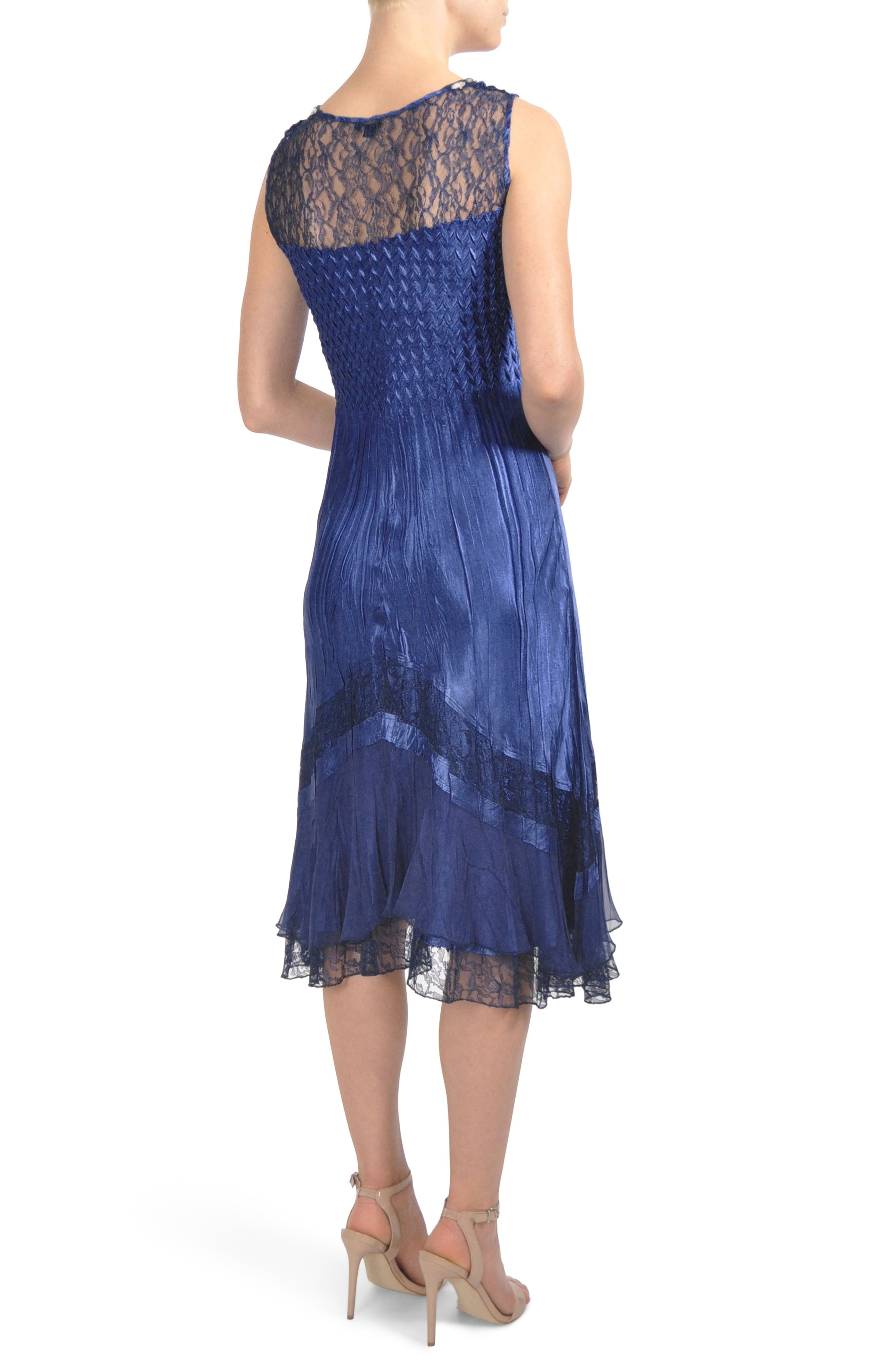 Embellished Lace Trim Dress with Jacket,                             Alternate thumbnail 2, color,                             Navy Black Ombre